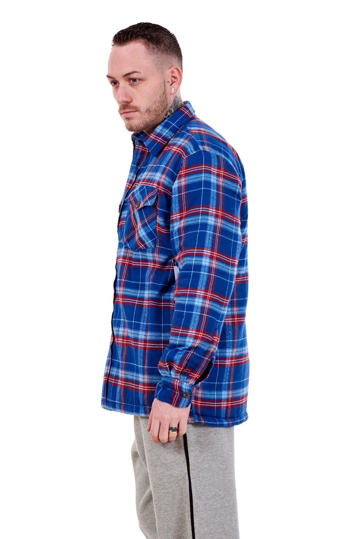 Flanella-Da-Uomo-Imbottito-Work-Shirt-Filato-Tinto-trapuntato-boscaiolo-Giacca-Regolare-amp-Big miniatura 13