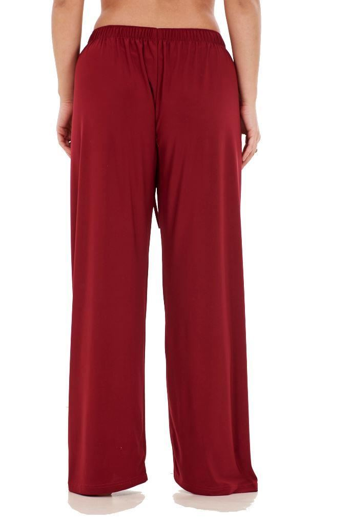 Ladies-Women-Trouser-Elasticated-wide-leg-High-waist-ITY-Regular-Pants-Black-Red thumbnail 25
