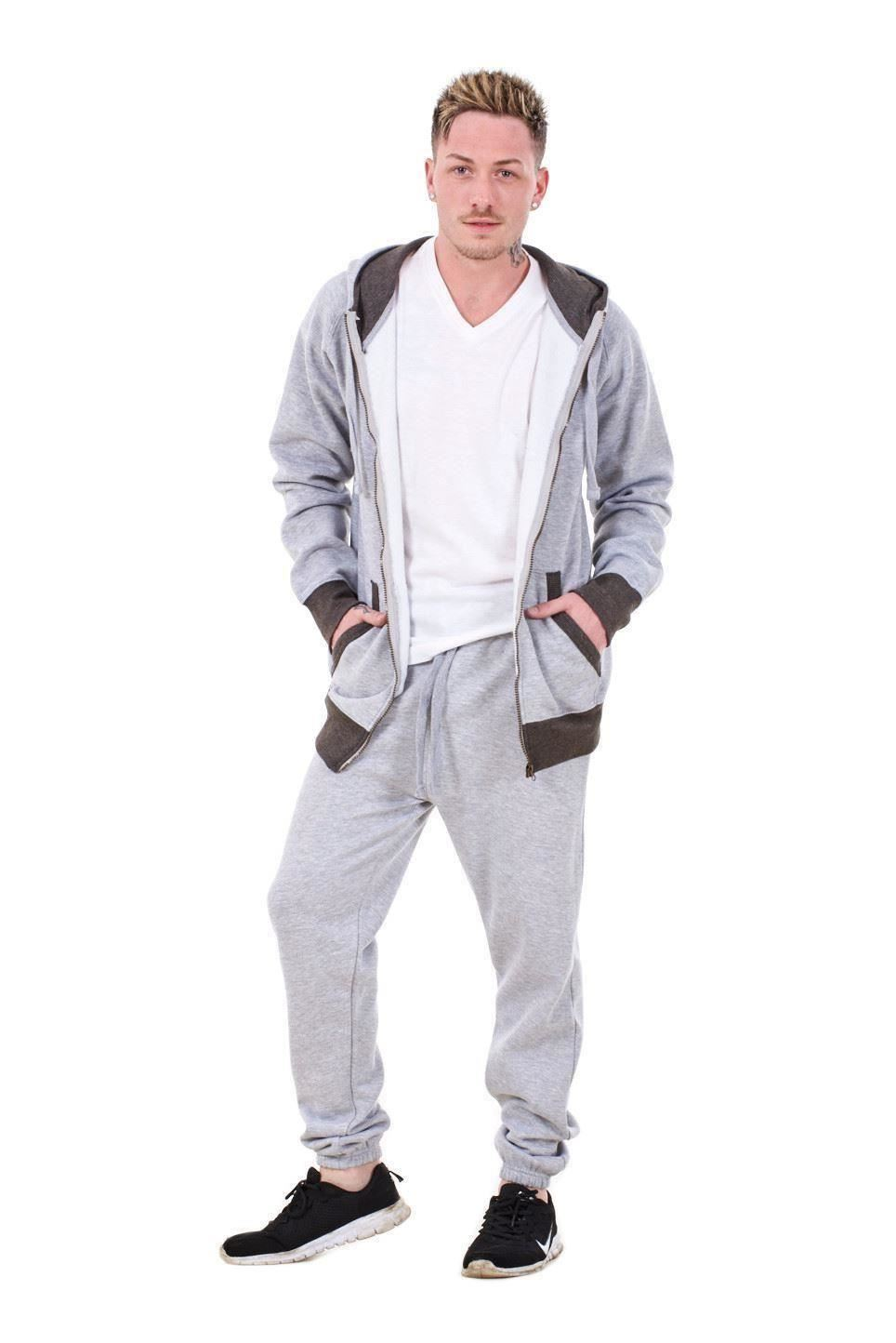 New-Mens-Tracksuit-Branded-Fleece-Hooded-Zipper-Cotton-Jogging-Bottoms-S-to-XXL thumbnail 6
