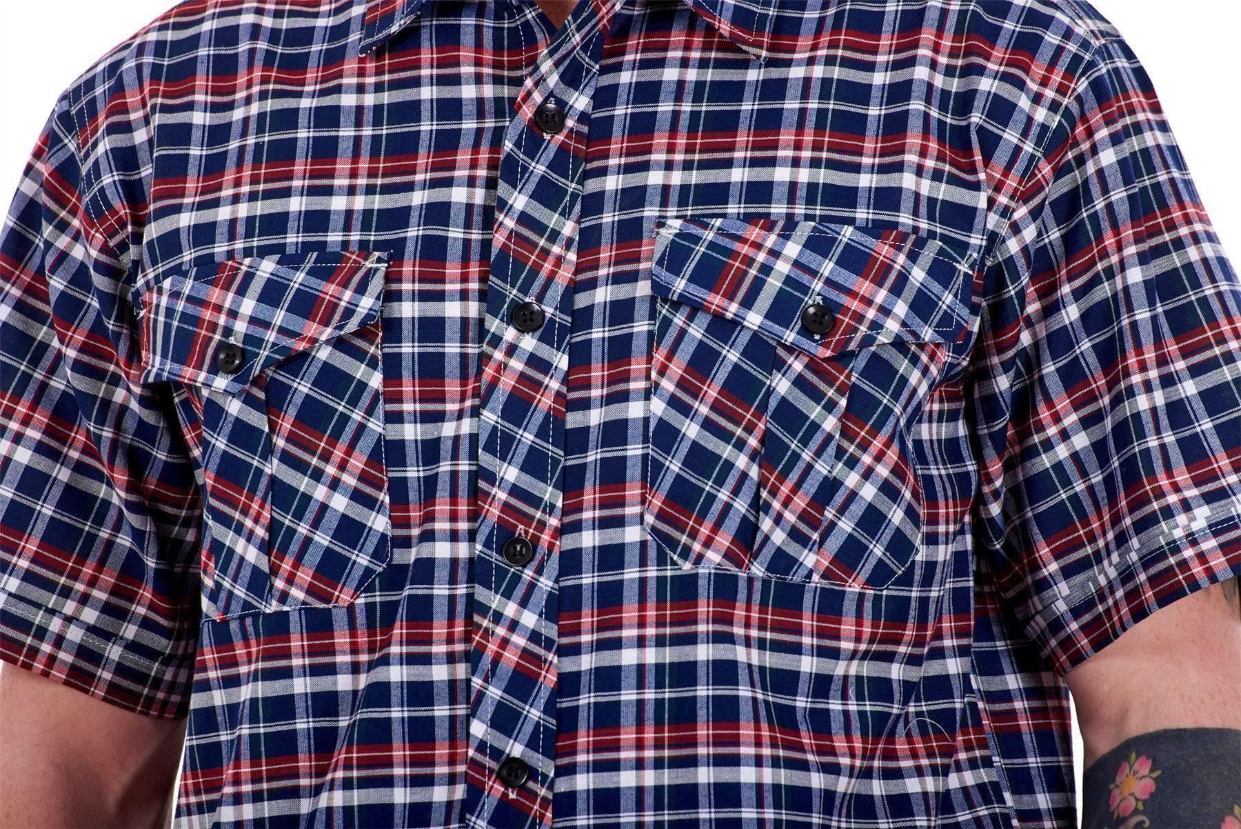 Mens-Regular-Big-Size-Shirts-Checked-Cotton-Blend-Casual-Short-Sleeve-M-to-5XL thumbnail 21