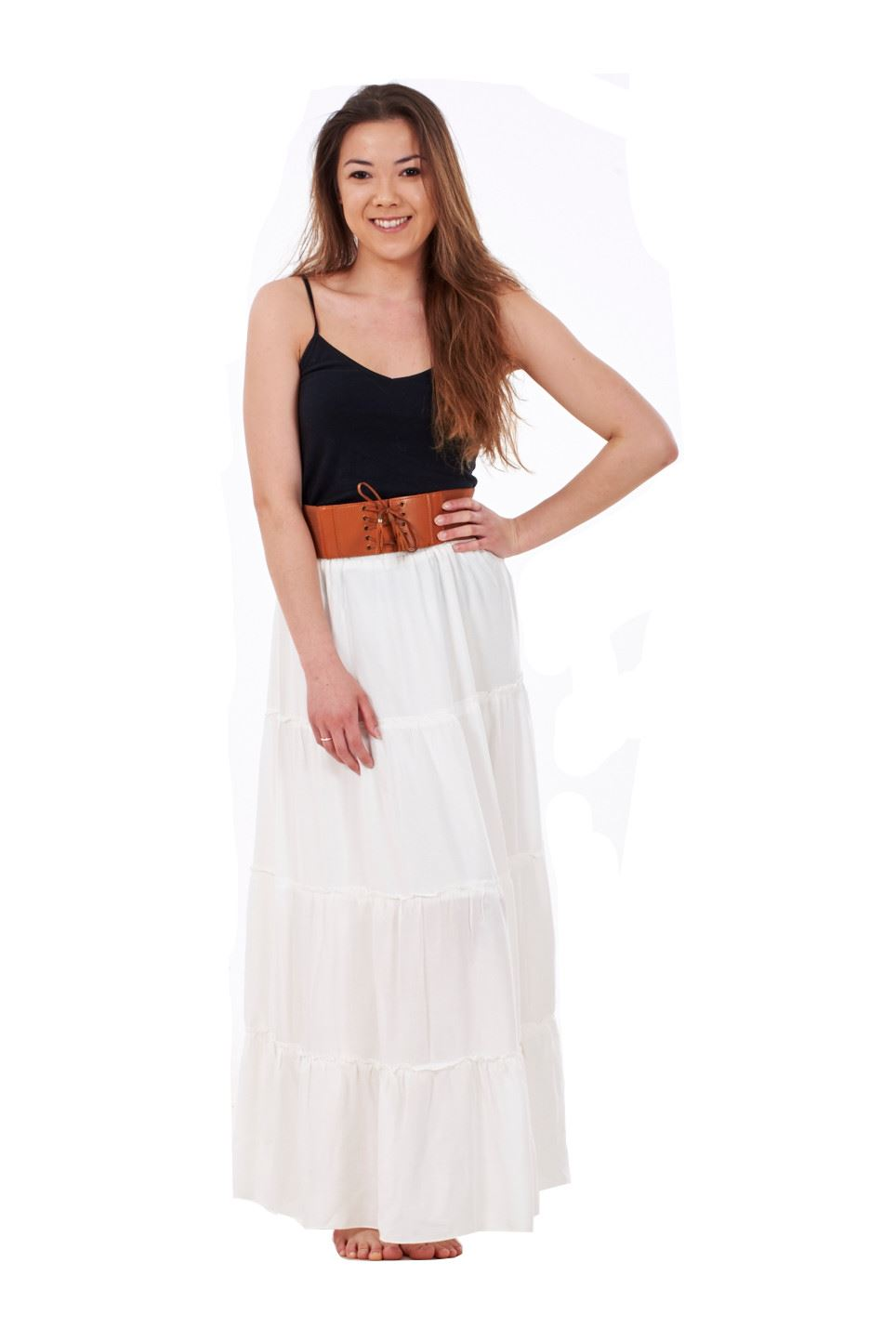 thumbnail 3 - New Ladies Skirt Elasticated Long Maxi High Waist Belted Casual Wear 8 to 14