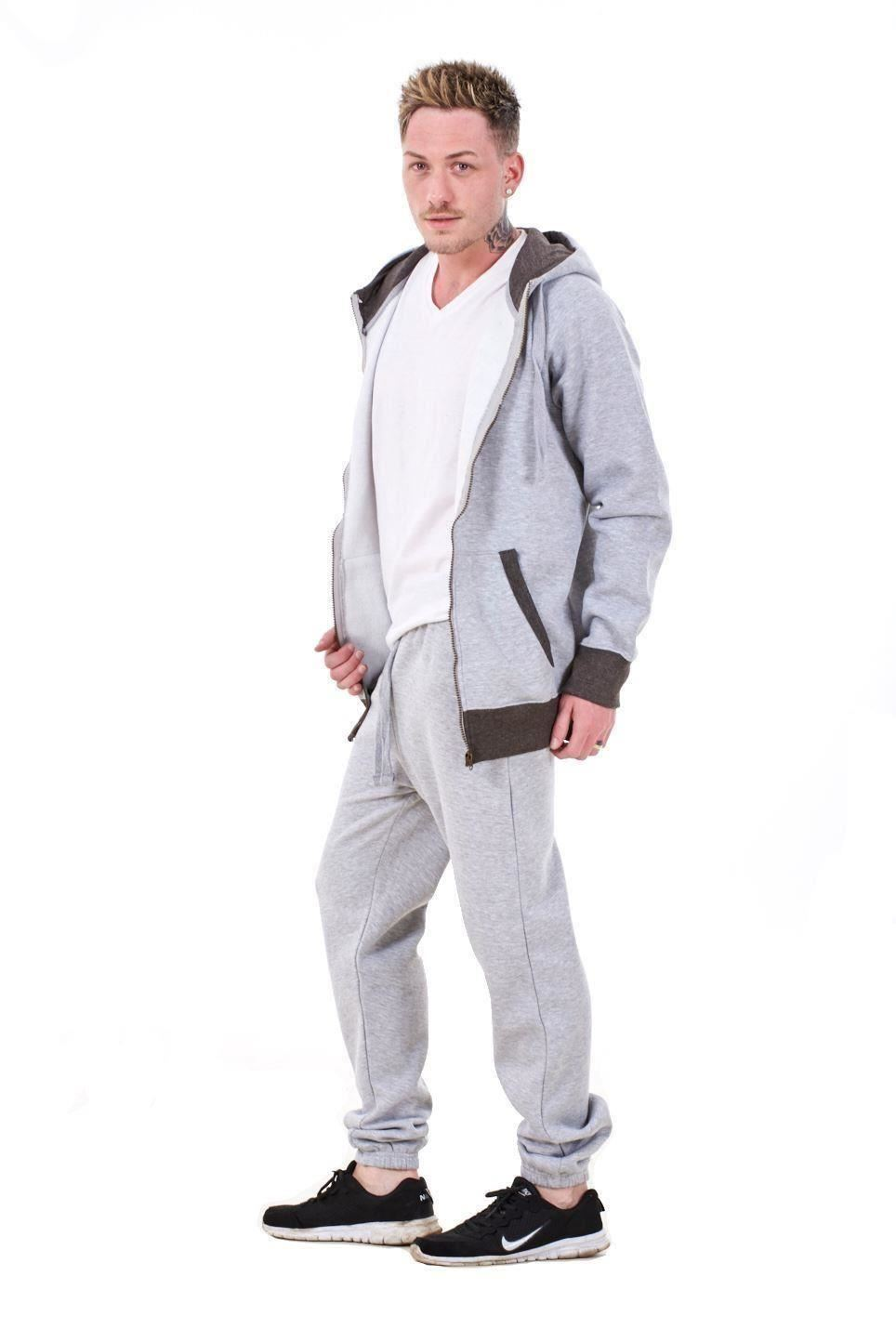 New-Mens-Tracksuit-Branded-Fleece-Hooded-Zipper-Cotton-Jogging-Bottoms-S-to-XXL thumbnail 9