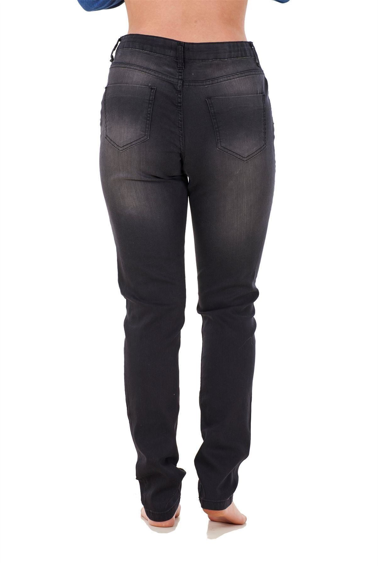 Ladies-Stretch-Jeans-Denim-cotton-Zip-fly-High-Waisted-Slim-Fit-Trousers-Pants thumbnail 11
