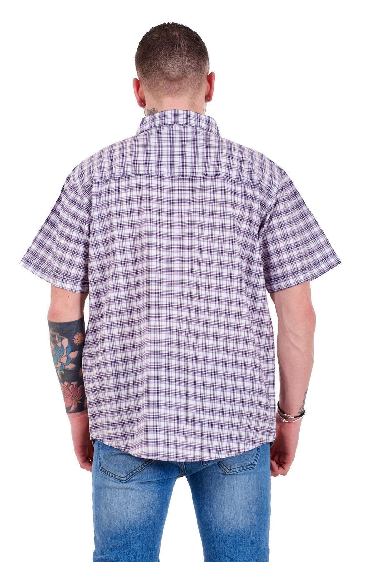 Mens-Regular-Big-Size-Shirts-Checked-Cotton-Blend-Casual-Short-Sleeve-M-to-5XL thumbnail 23