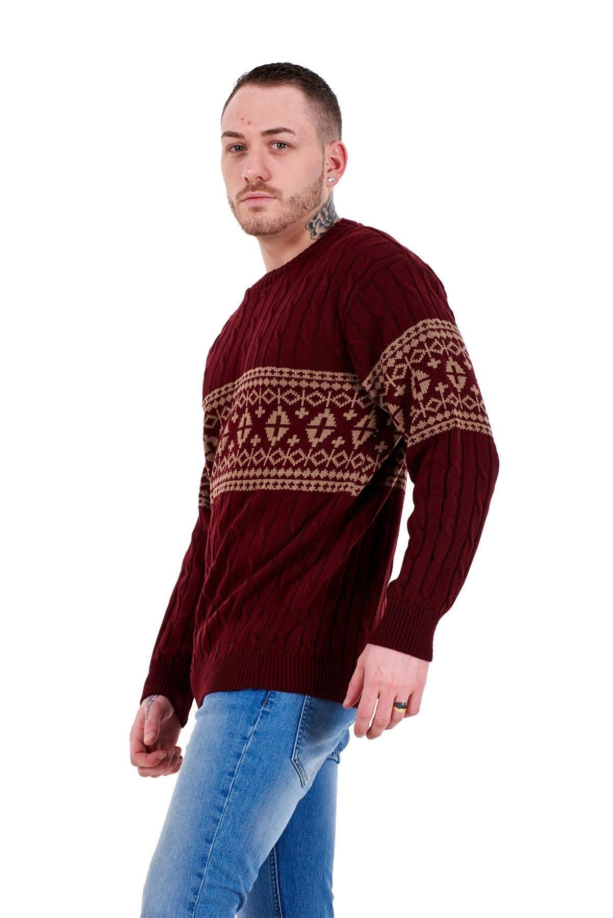 Mens-New-Cable-Knit-Jacquard-Long-Sleeve-Pullover-Jumper-Sweater-S-to-XL thumbnail 24