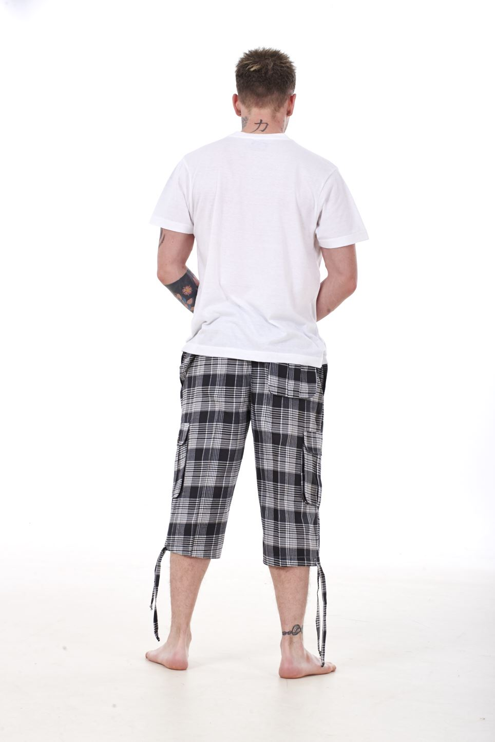 Mens Check Shorts 3 4 Length By Malay Apparel Cotton Blend