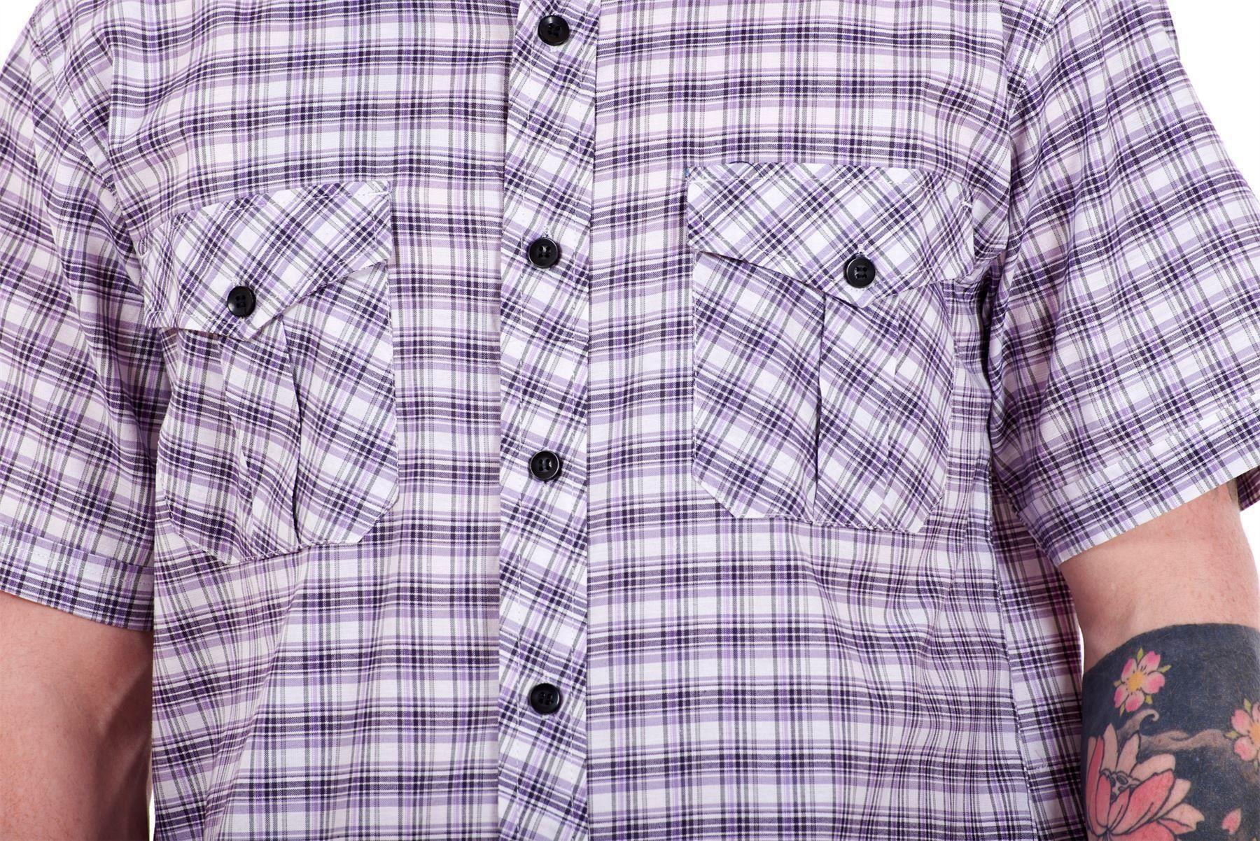 Mens-Regular-Big-Size-Shirts-Checked-Cotton-Blend-Casual-Short-Sleeve-M-to-5XL thumbnail 25