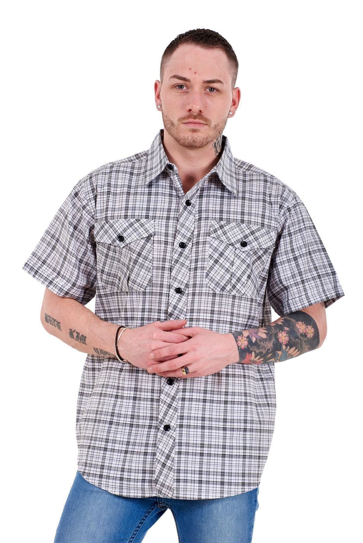 Mens-Regular-Big-Size-Shirts-Checked-Cotton-Blend-Casual-Short-Sleeve-M-to-5XL thumbnail 15
