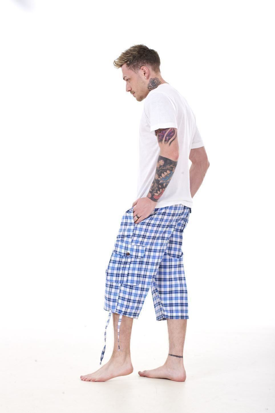 Mens-Check-Shorts-3-4-Length-by-Malay-Apparel-Cotton-Blend-Lounge-Casual-Wear thumbnail 49