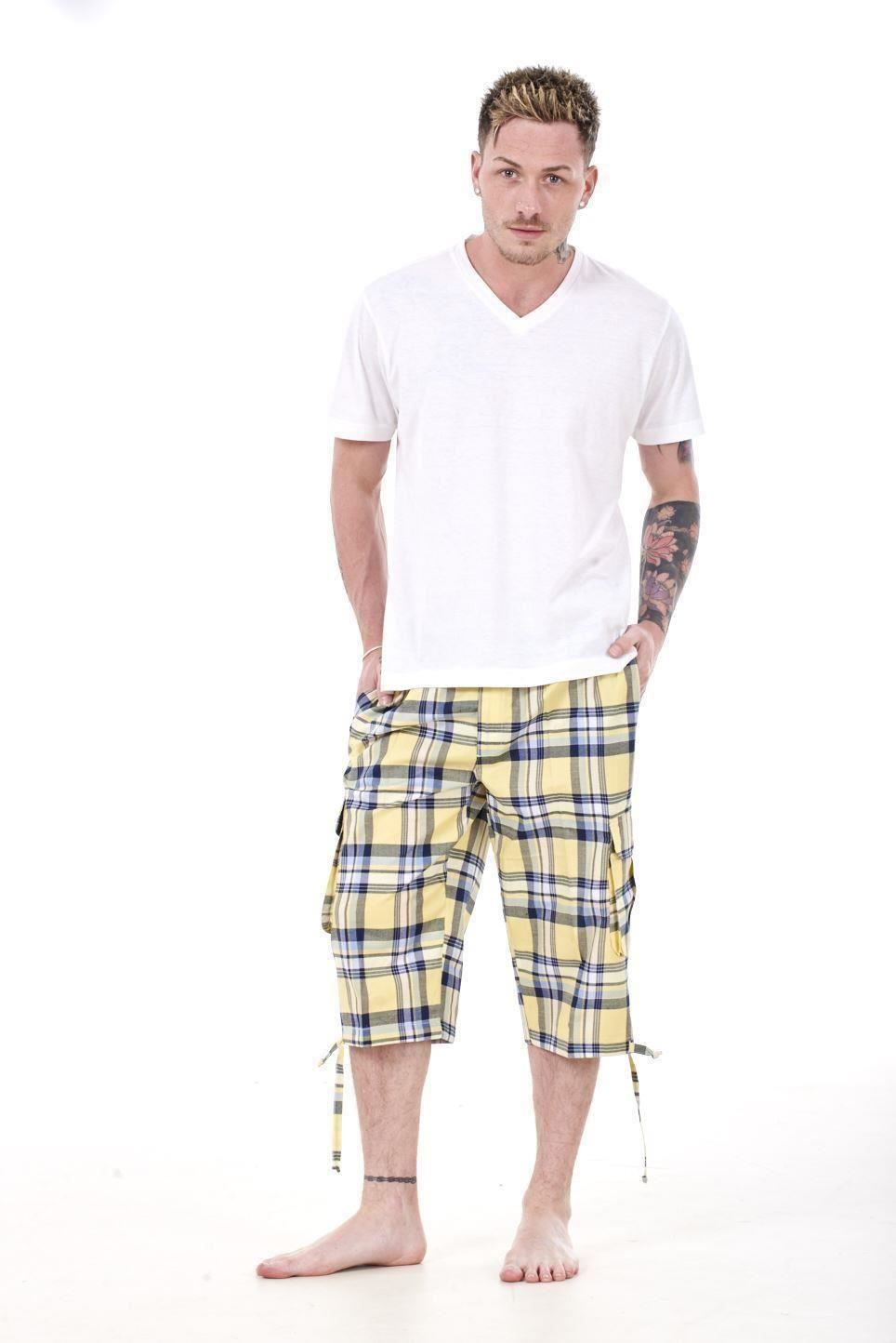 Mens-Check-Shorts-3-4-Length-by-Malay-Apparel-Cotton-Blend-Lounge-Casual-Wear thumbnail 57