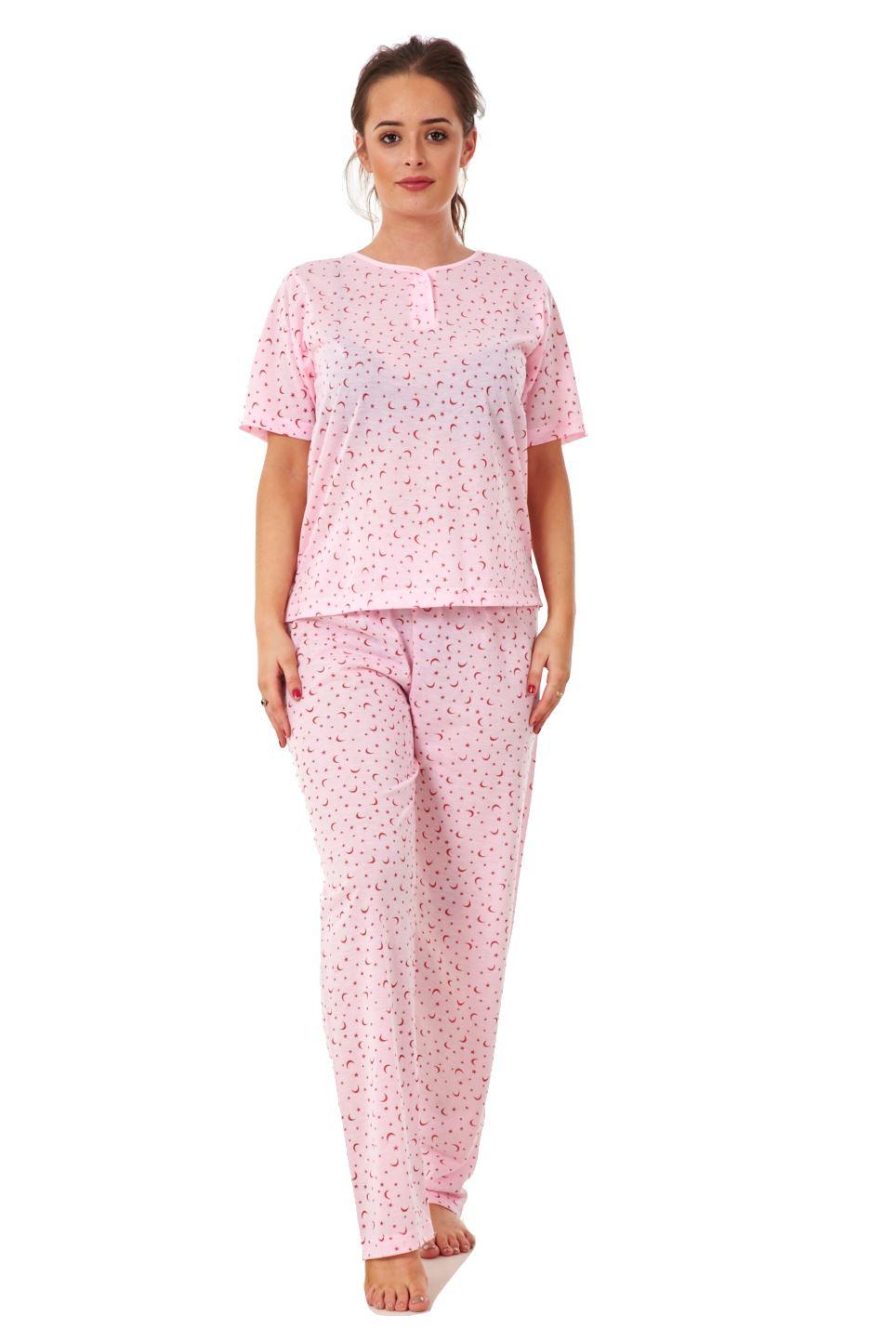 Ladies-Pyjama-Sets-New-Stars-Moon-Printed-Short-Sleeve-Nightwear-Soft-PJs-S-XXL
