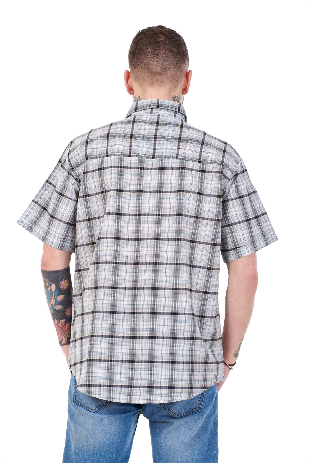 Mens-Regular-Big-Size-Shirts-Checked-Cotton-Blend-Casual-Short-Sleeve-Blue-M-5XL thumbnail 20