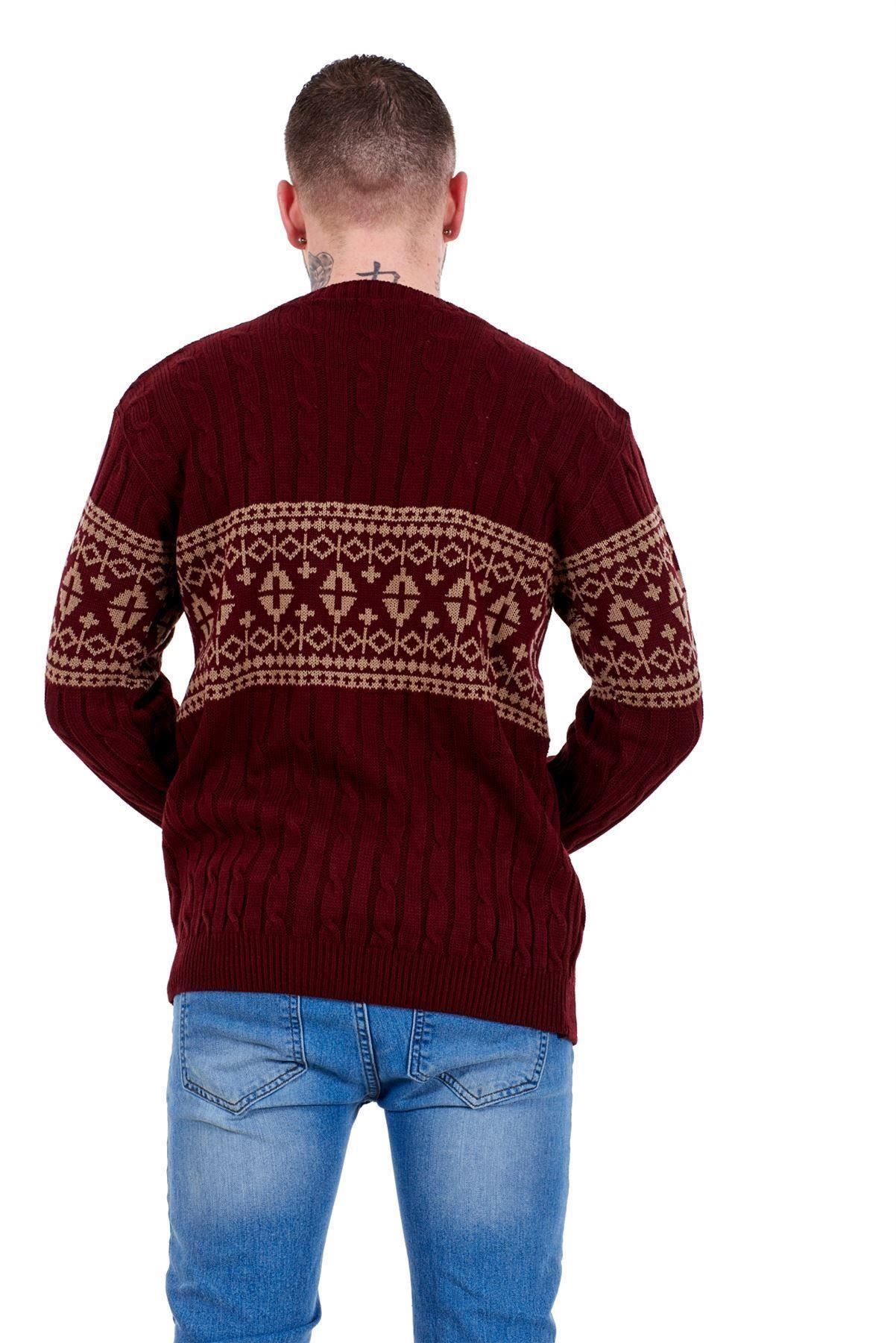Mens-New-Cable-Knit-Jacquard-Long-Sleeve-Pullover-Jumper-Sweater-S-to-XL thumbnail 25