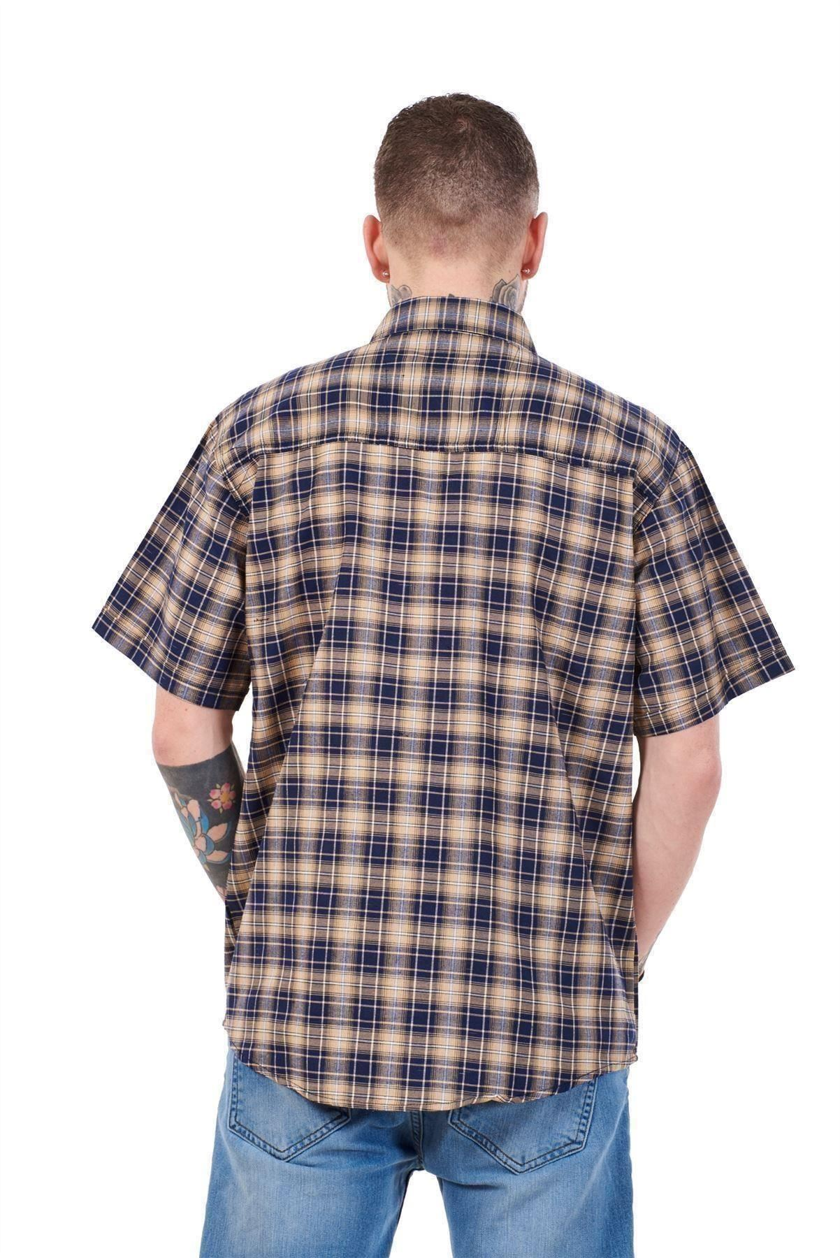 Mens-Regular-Big-Size-Shirts-Checked-Cotton-Blend-Casual-Short-Sleeve-Blue-M-5XL thumbnail 12
