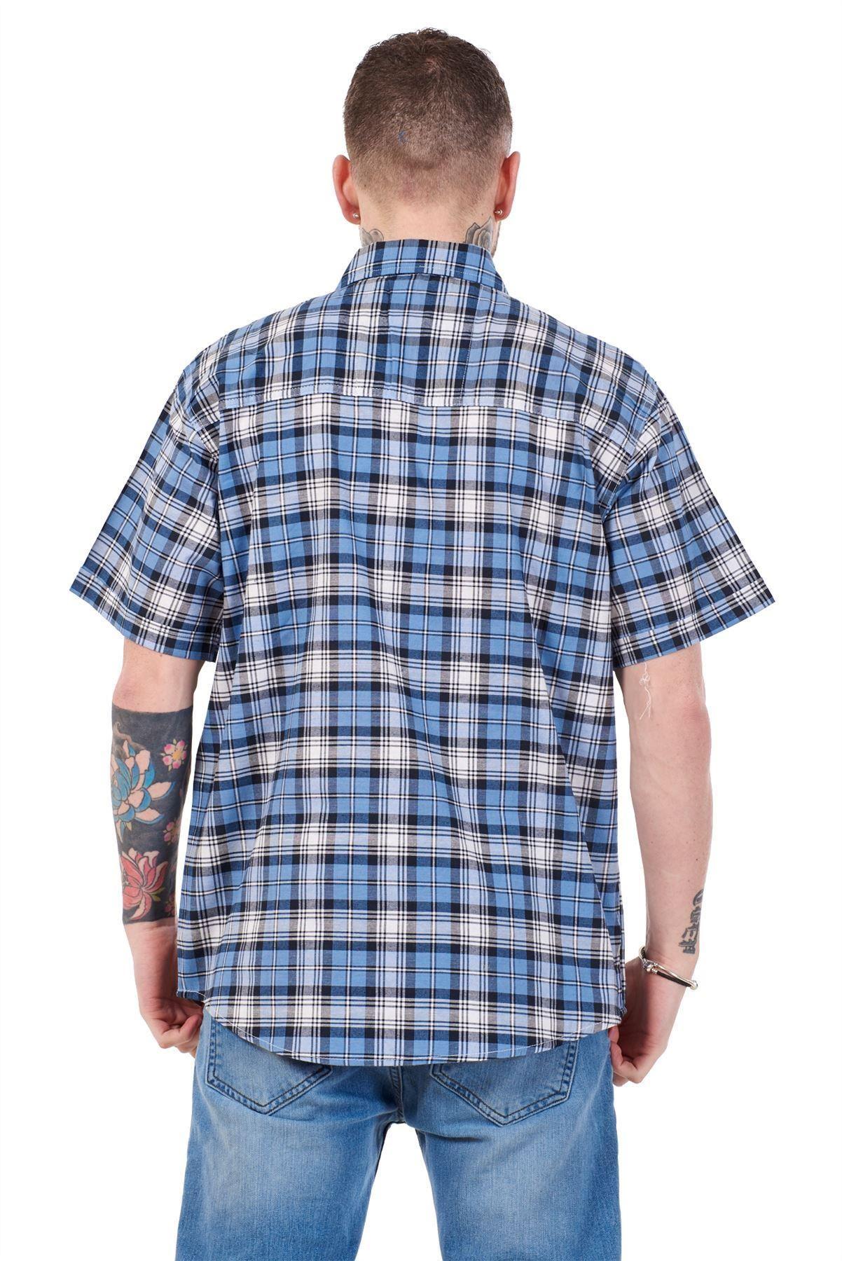 Mens-Regular-Big-Size-Shirts-Checked-Cotton-Blend-Casual-Short-Sleeve-Blue-M-5XL thumbnail 31