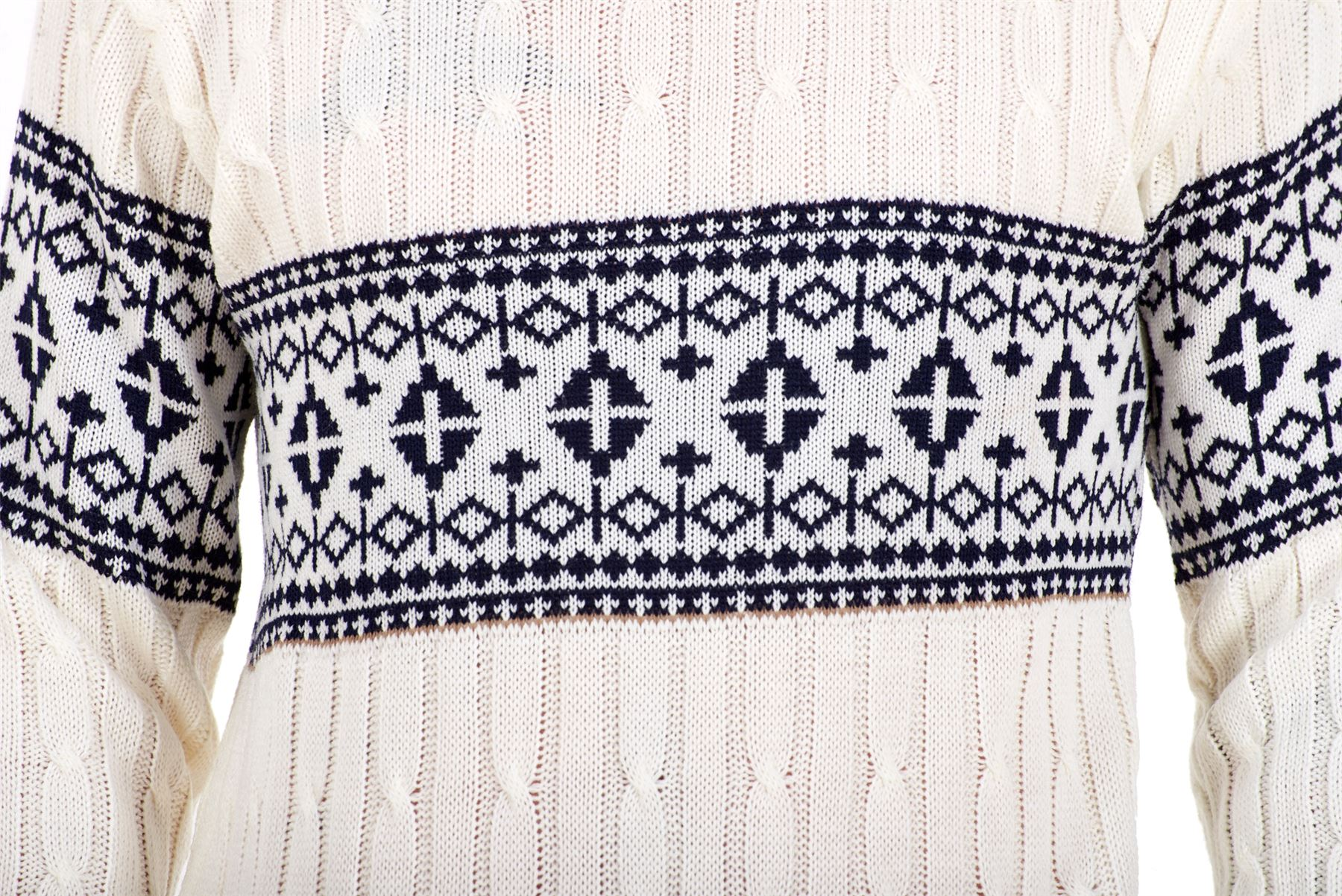 Mens-New-Cable-Knit-Jacquard-Long-Sleeve-Pullover-Jumper-Sweater-S-to-XL thumbnail 9