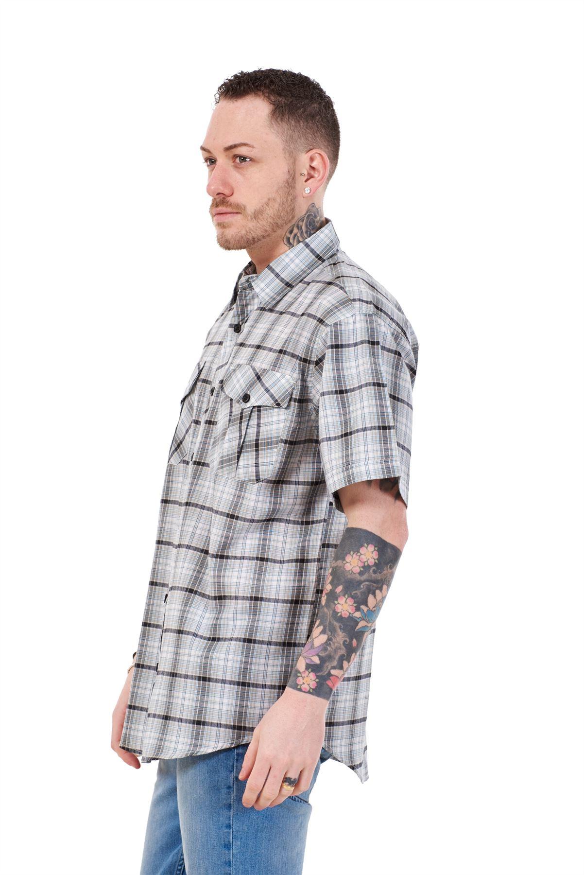 Mens-Regular-Big-Size-Shirts-Checked-Cotton-Blend-Casual-Short-Sleeve-Blue-M-5XL thumbnail 21