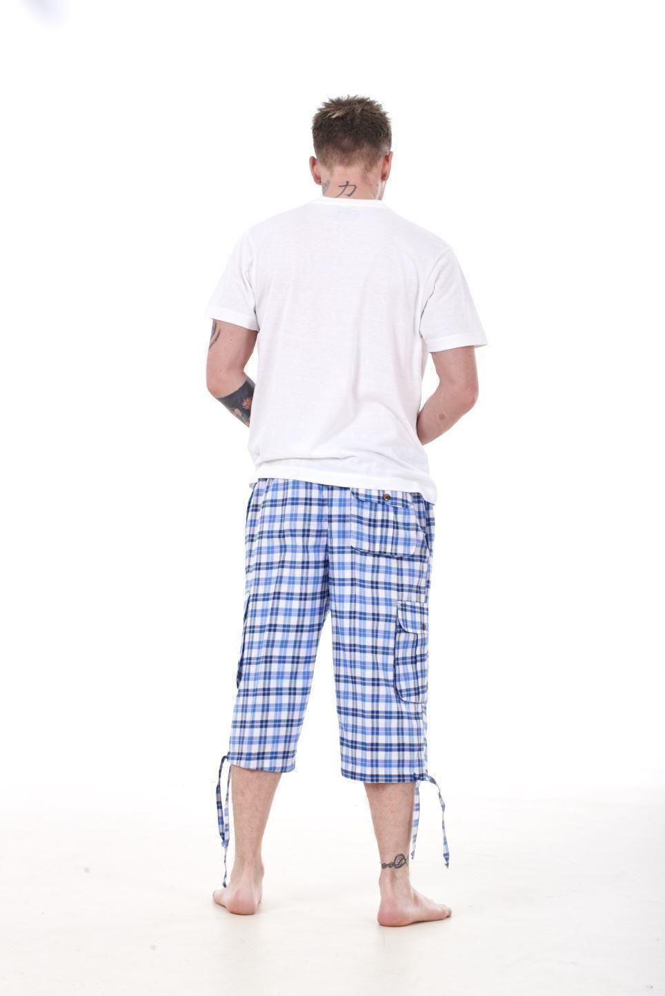 Mens-Check-Shorts-3-4-Length-by-Malay-Apparel-Cotton-Blend-Lounge-Casual-Wear thumbnail 50