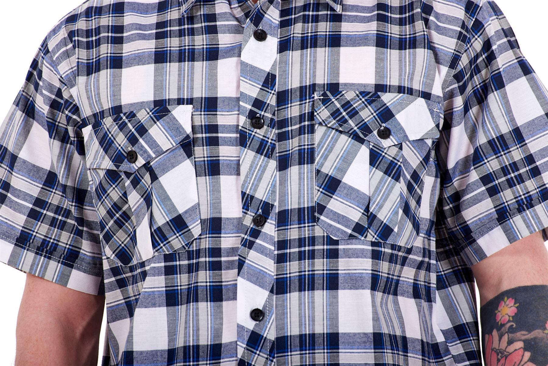 Mens-Regular-Big-Size-Shirts-Checked-Cotton-Blend-Casual-Short-Sleeve-M-to-5XL thumbnail 12