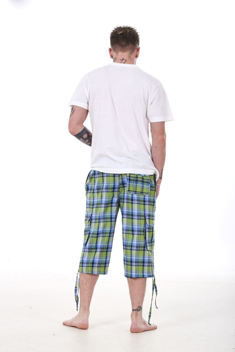 Mens-Check-Shorts-3-4-Length-by-Malay-Apparel-Cotton-Blend-Lounge-Casual-Wear thumbnail 26