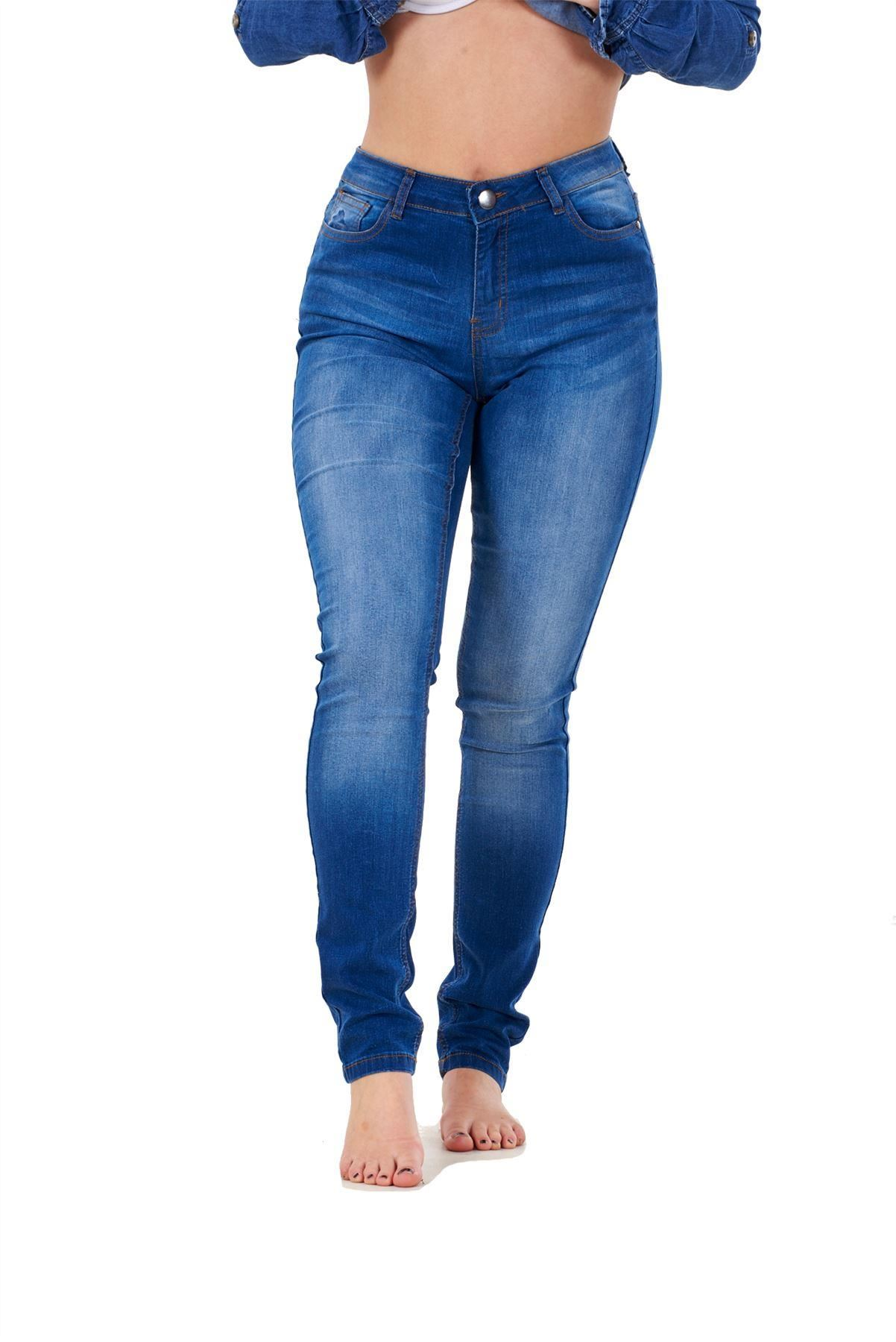 Ladies-Stretch-Jeans-Denim-cotton-Zip-fly-High-Waisted-Slim-Fit-Trousers-Pants thumbnail 7