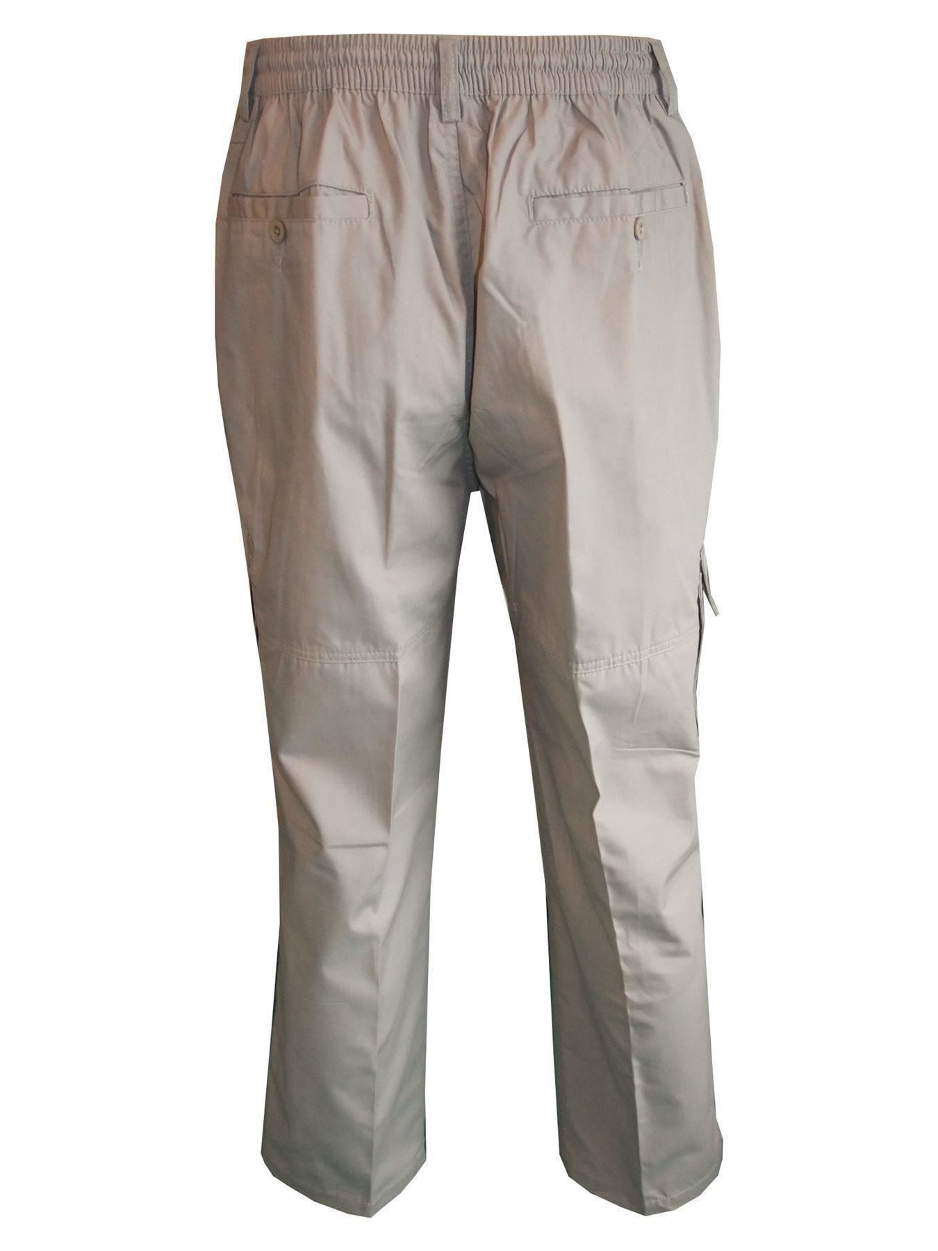 Men-Straight-Trousers-Cargo-Combat-Cotton-Elasticated-Zip-Fly-Casual-Pants-M-3XL thumbnail 3