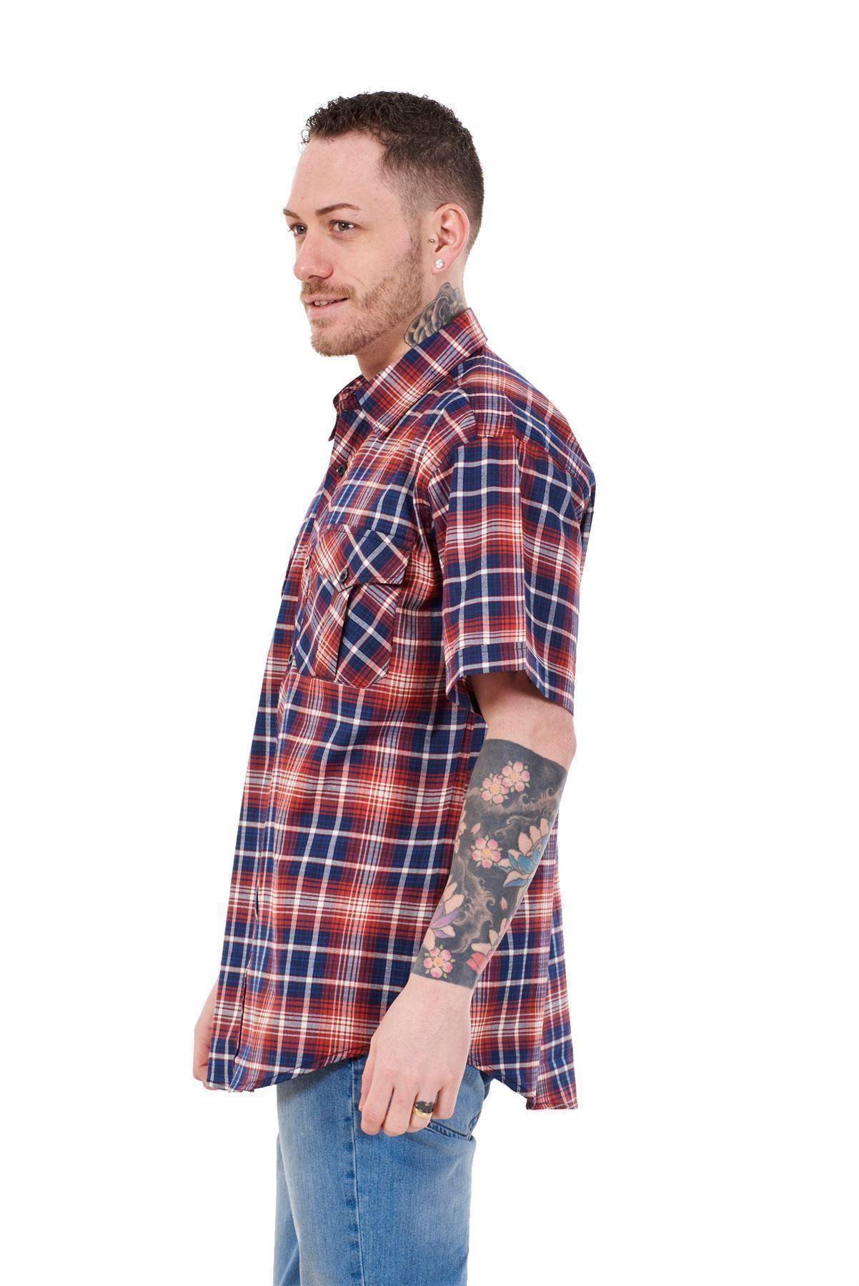 Mens-Regular-Big-Size-Shirts-Checked-Cotton-Blend-Casual-Short-Sleeve-Blue-M-5XL thumbnail 27