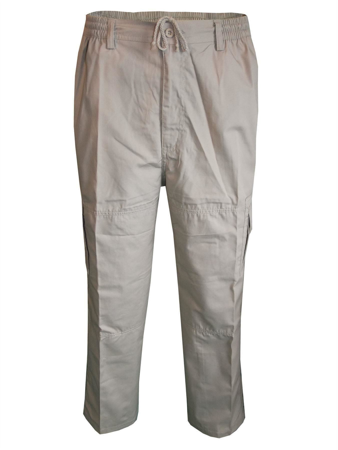 Men-Straight-Trousers-Cargo-Combat-Cotton-Elasticated-Zip-Fly-Casual-Pants-M-3XL thumbnail 4