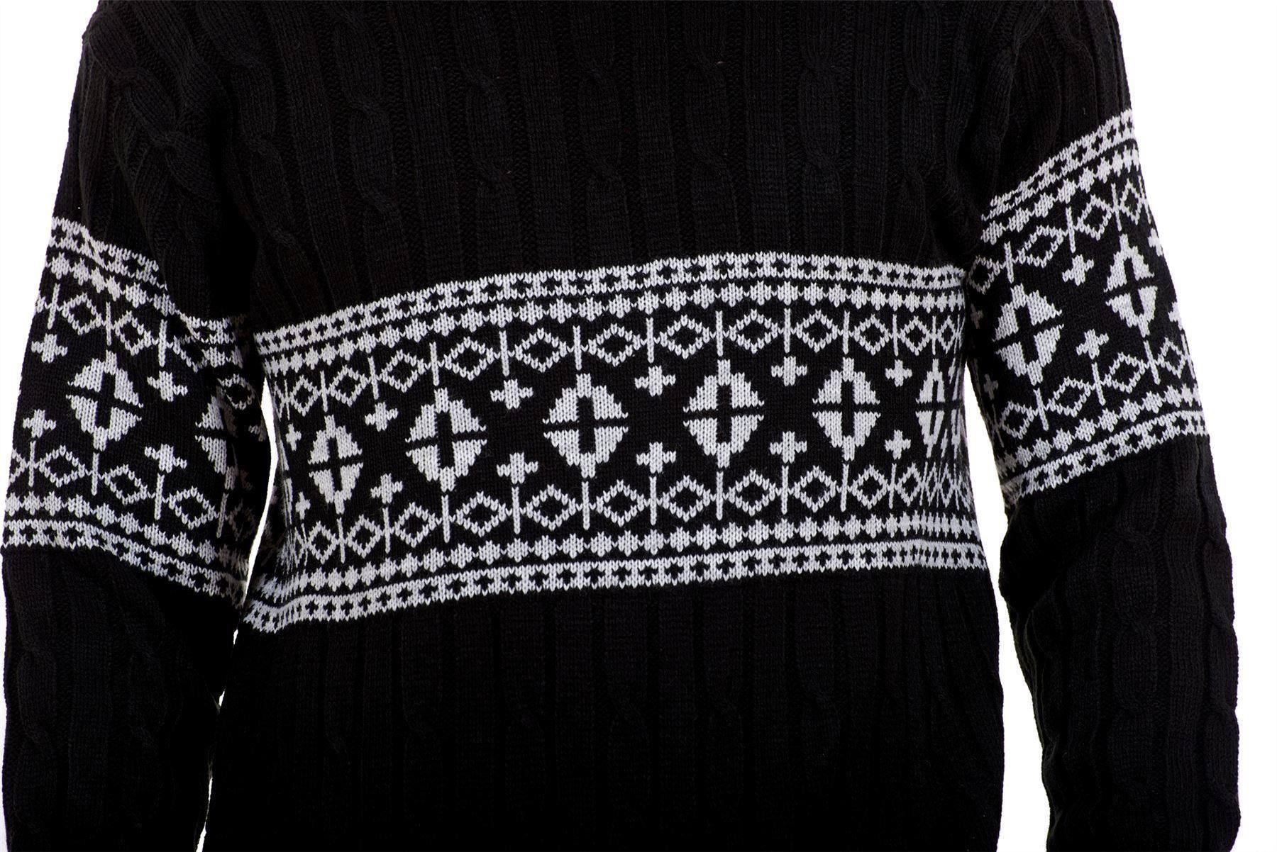 Mens-New-Cable-Knit-Jacquard-Long-Sleeve-Pullover-Jumper-Sweater-S-to-XL thumbnail 5