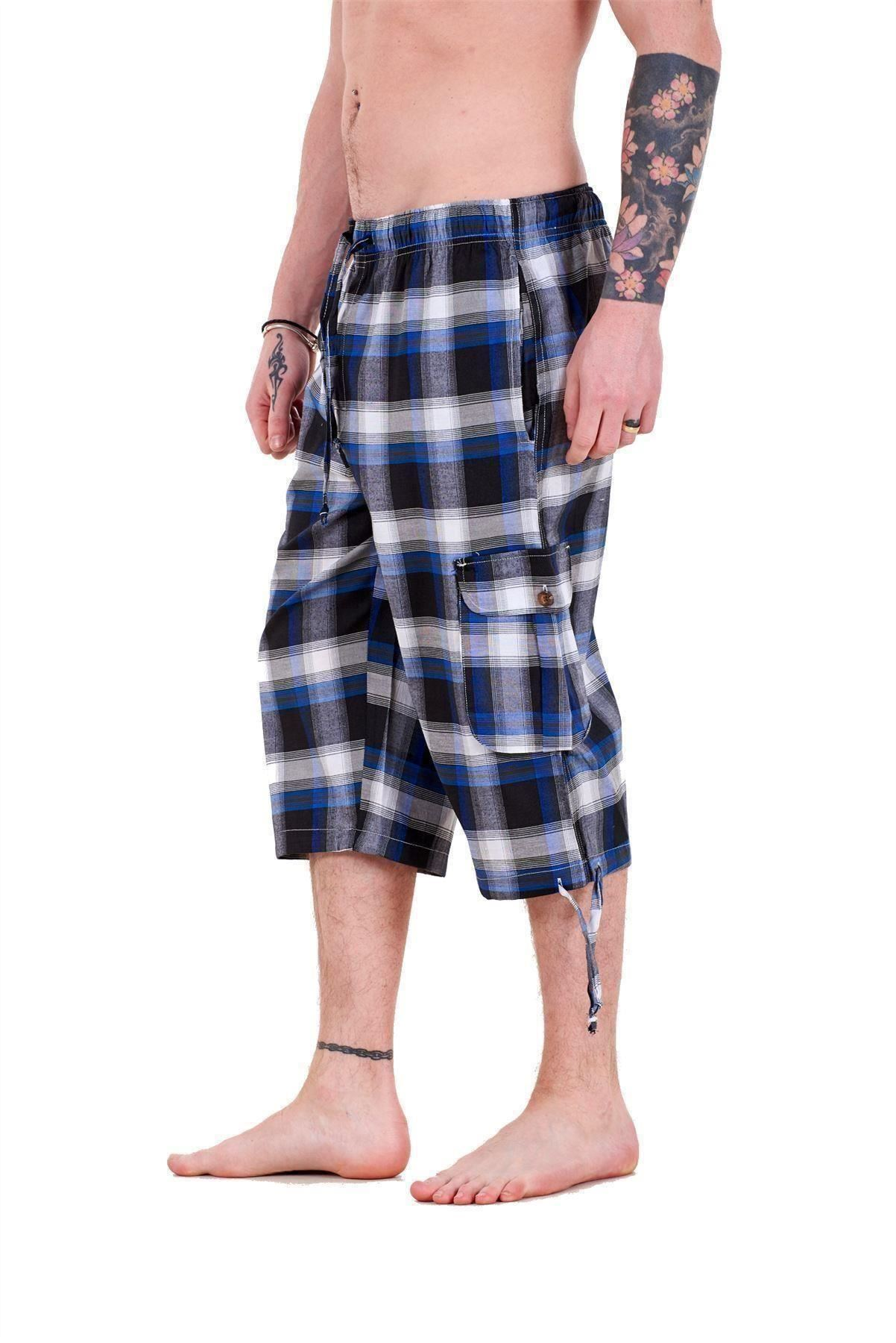 Mens-Check-Shorts-3-4-Length-by-Malay-Apparel-Cotton-Blend-Lounge-Casual-Wear thumbnail 11