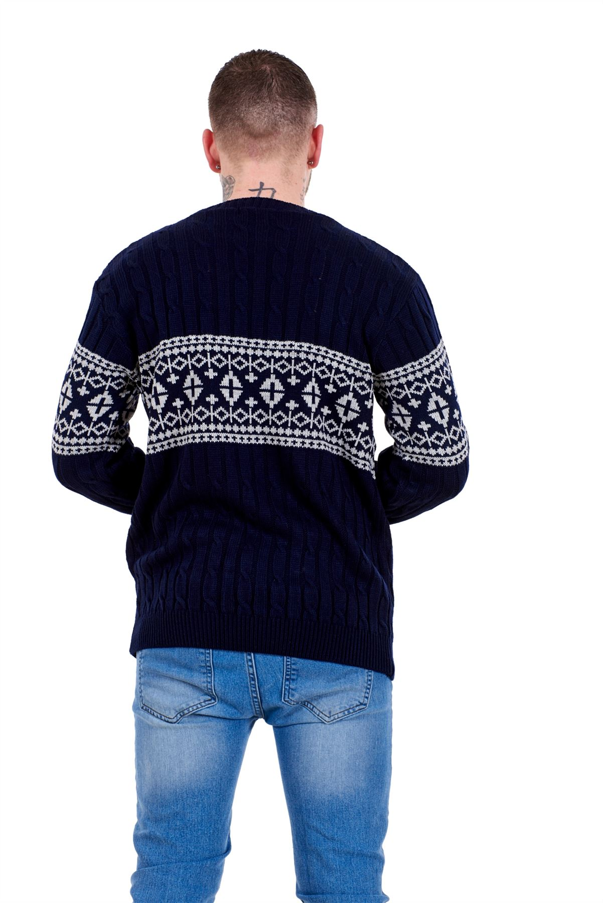 Mens-New-Cable-Knit-Jacquard-Long-Sleeve-Pullover-Jumper-Sweater-S-to-XL thumbnail 21