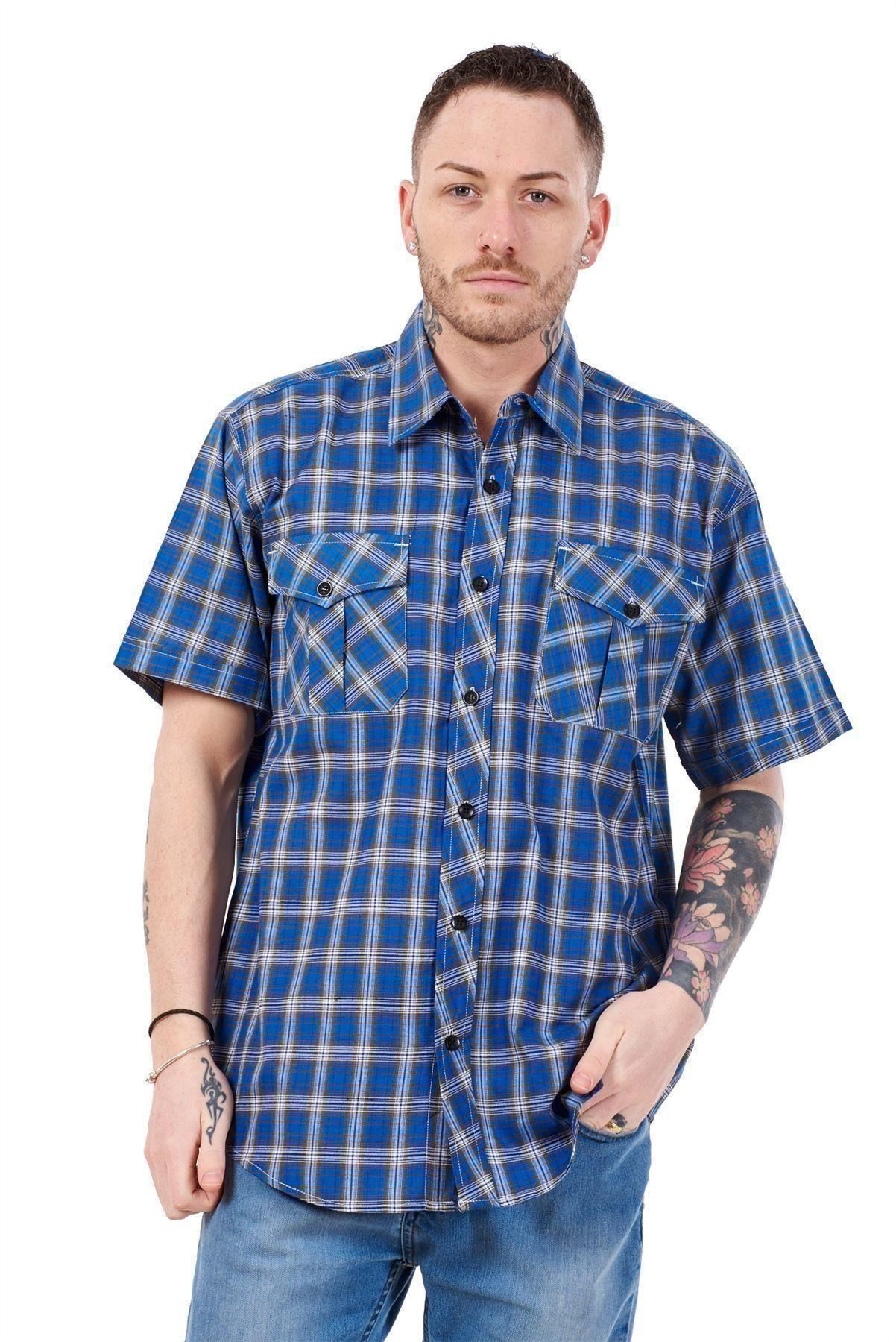 Mens-Regular-Big-Size-Shirts-Checked-Cotton-Blend-Casual-Short-Sleeve-Blue-M-5XL thumbnail 24