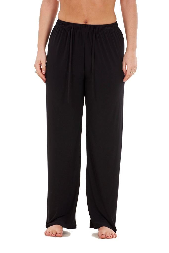 Ladies-Women-Trouser-Elasticated-wide-leg-High-waist-ITY-Regular-Pants-Black-Red thumbnail 8