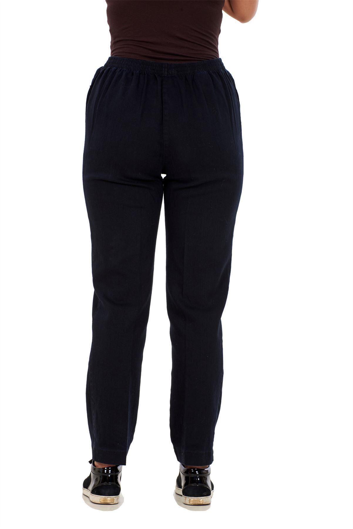 Ladies-Women-Trousers-Rayon-Cotton-Pockets-Elasticated-Stretch-Black-pants-8-24 thumbnail 6