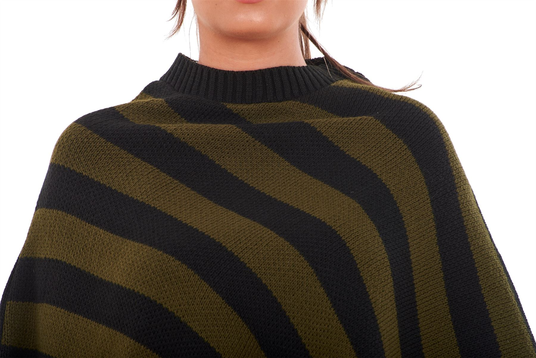 New-Ladies-Women-Knitted-Stripe-Poncho-One-Size-Plus-Crew-Neck-Warm-Sweater-Tops