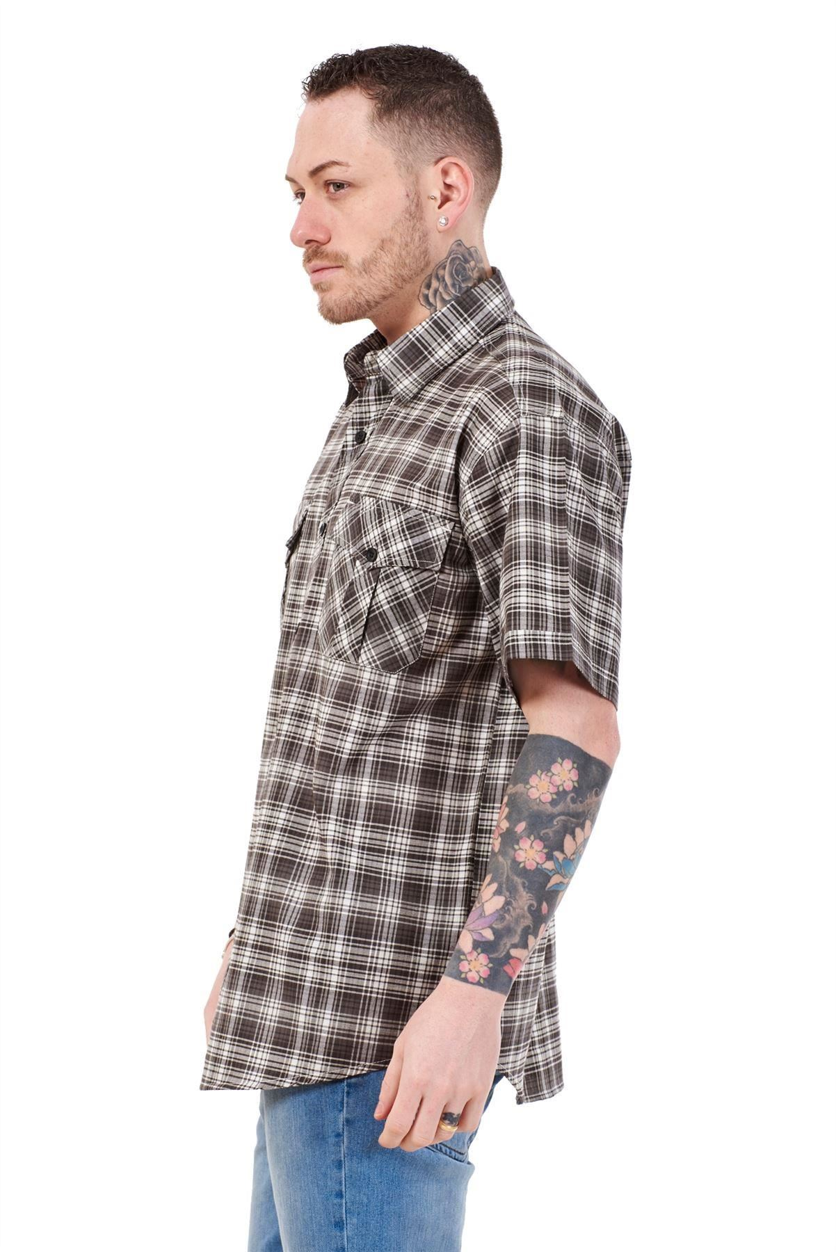 Mens-Regular-Big-Size-Shirts-Checked-Cotton-Blend-Casual-Short-Sleeve-Blue-M-5XL thumbnail 3