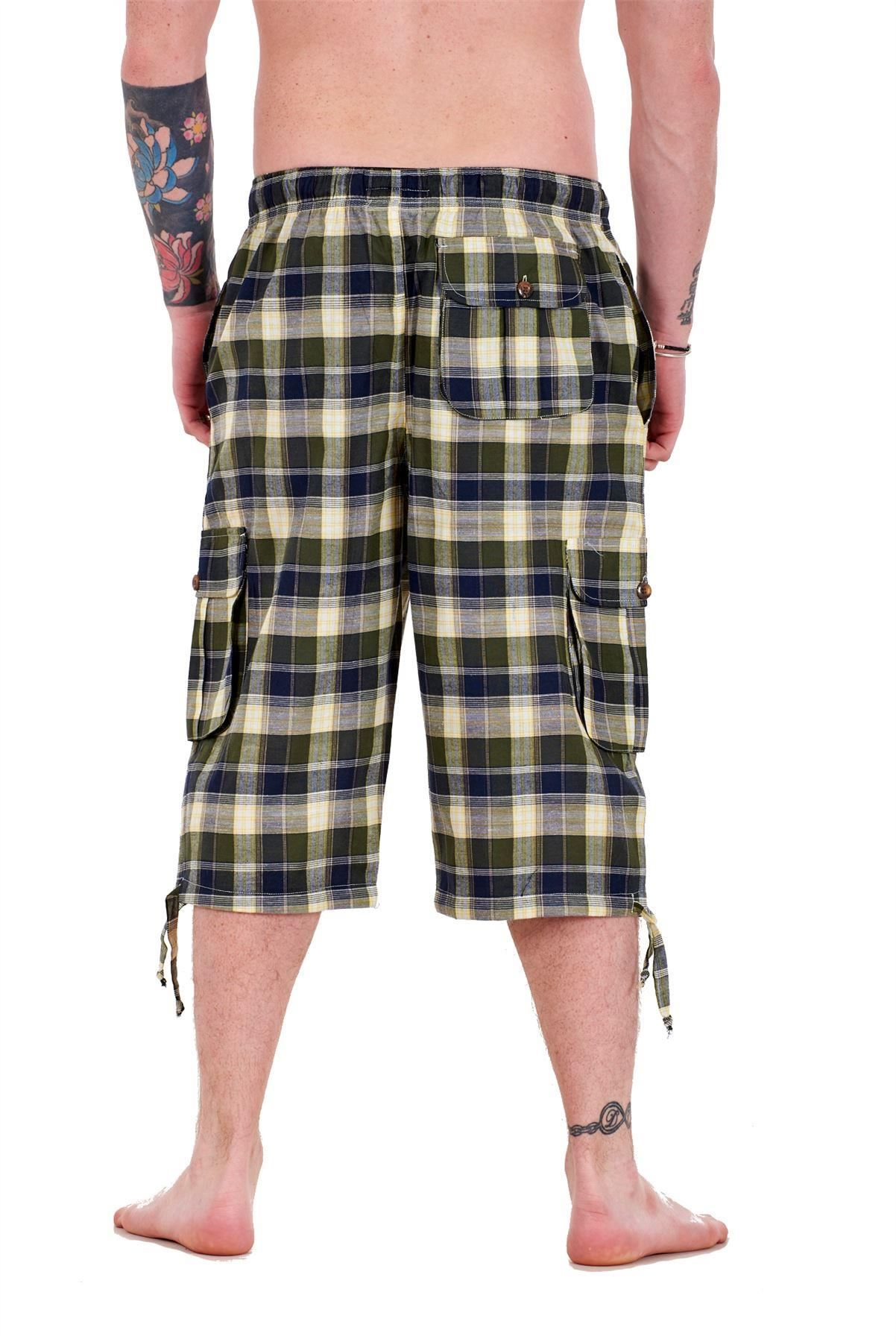 Mens-Check-Shorts-3-4-Length-by-Malay-Apparel-Cotton-Blend-Lounge-Casual-Wear thumbnail 29