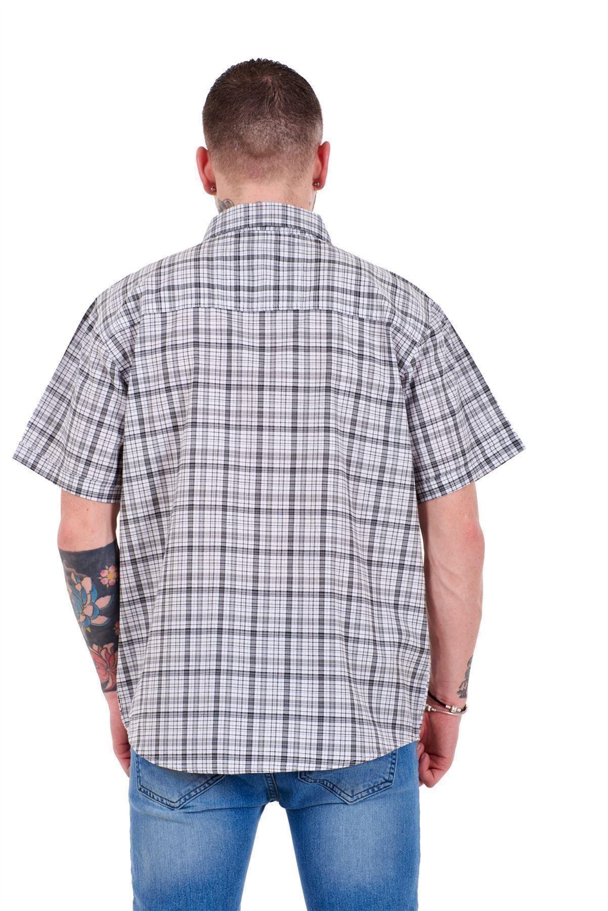 Mens-Regular-Big-Size-Shirts-Checked-Cotton-Blend-Casual-Short-Sleeve-M-to-5XL thumbnail 17