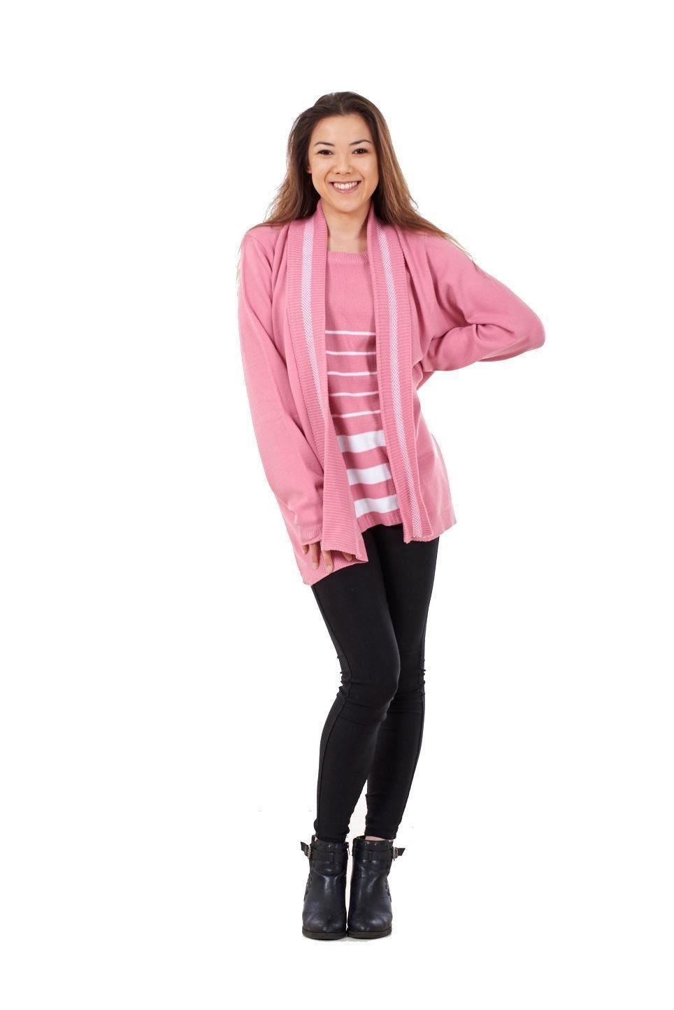 New-Ladies-Women-Twin-Set-Striped-Long-Sleeve-Crew-Neck-Knitted-Cardigan-Jumpers