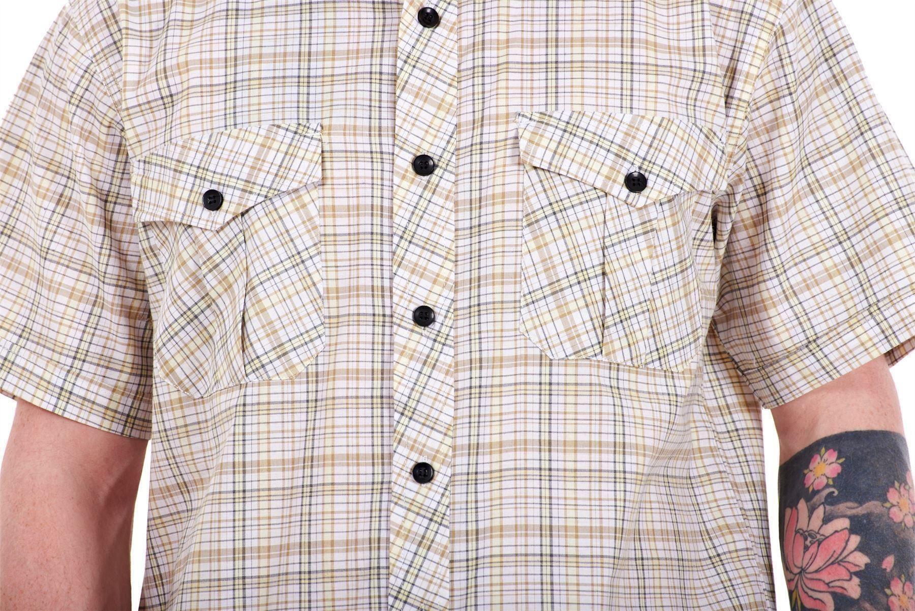 Mens-Regular-Big-Size-Shirts-Checked-Cotton-Blend-Casual-Short-Sleeve-M-to-5XL thumbnail 9