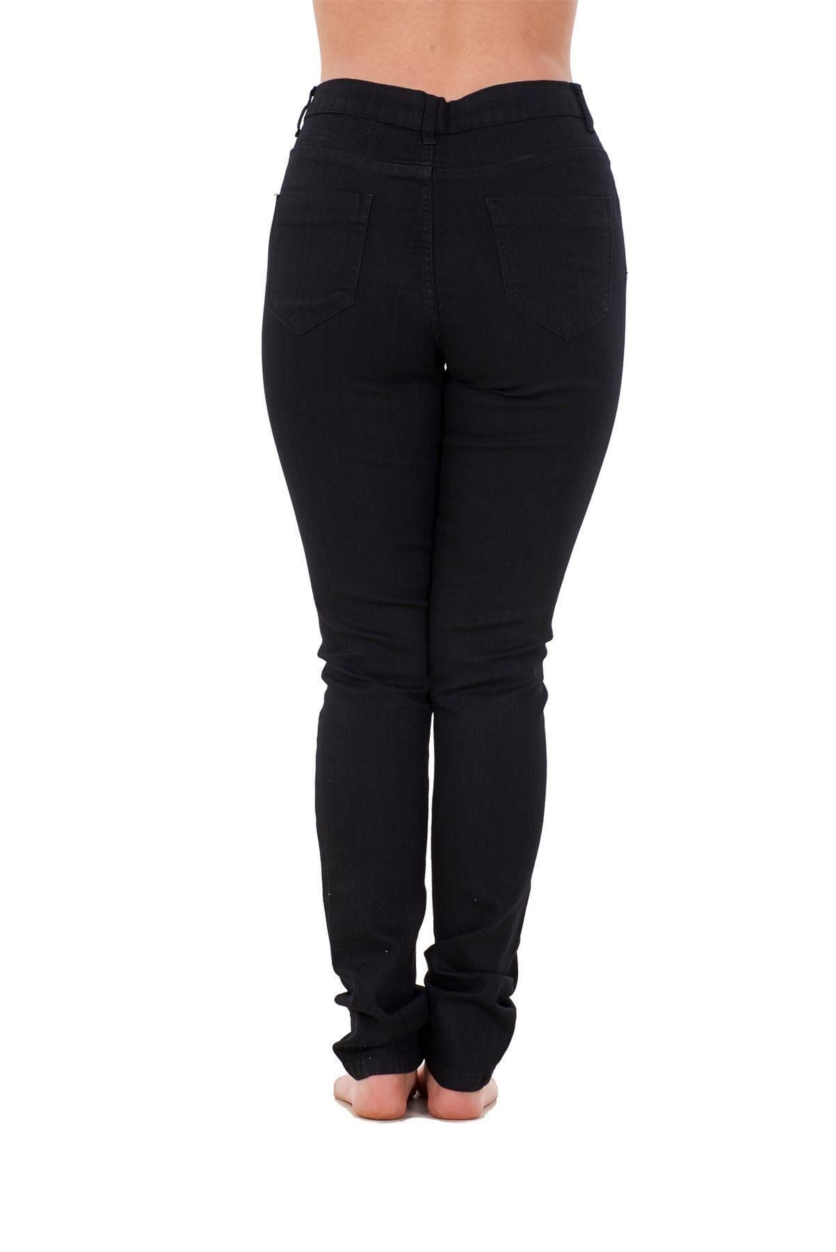 Ladies-Stretch-Jeans-Denim-cotton-Zip-fly-High-Waisted-Slim-Fit-Trousers-Pants thumbnail 4