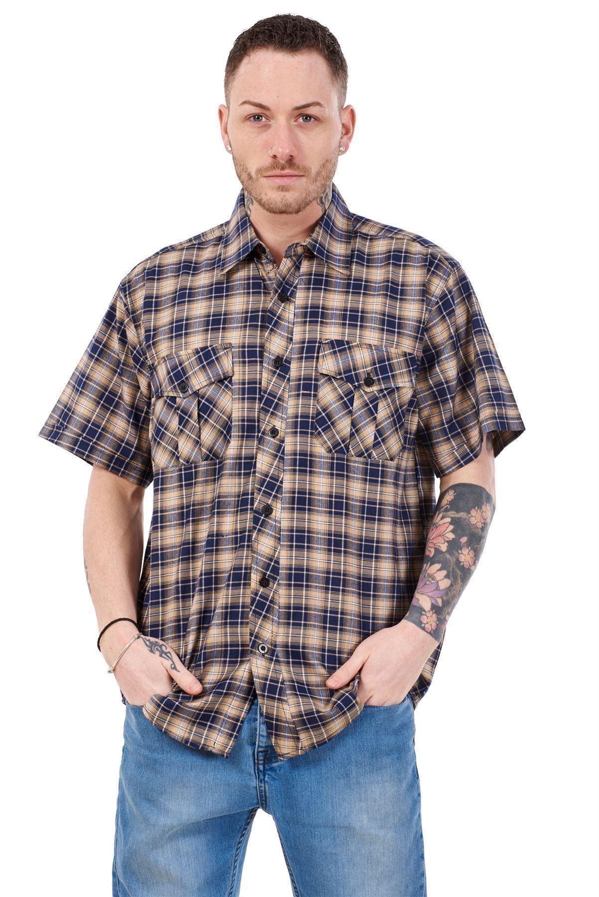 Mens-Regular-Big-Size-Shirts-Checked-Cotton-Blend-Casual-Short-Sleeve-Blue-M-5XL thumbnail 11