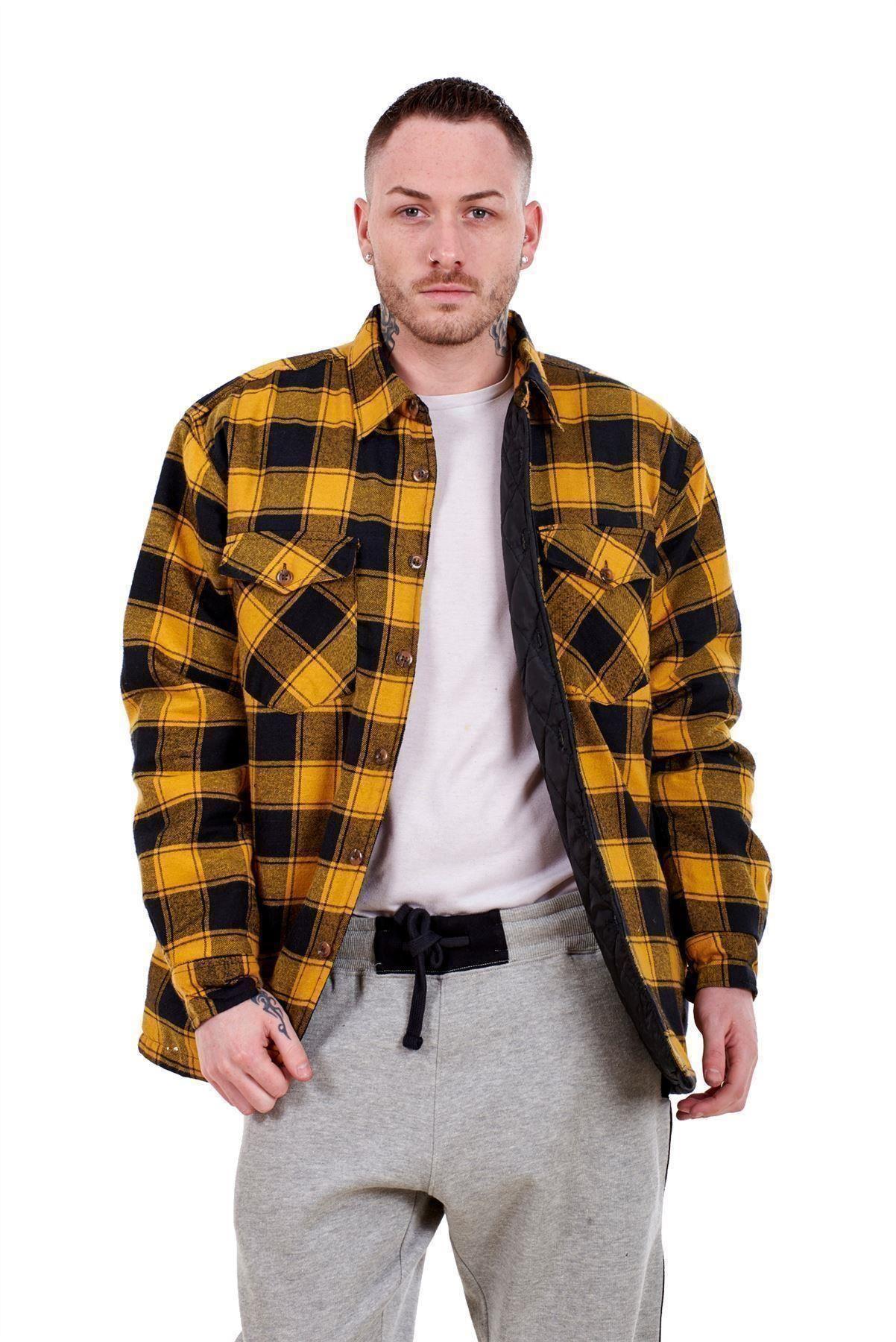 Flanella-Da-Uomo-Imbottito-Work-Shirt-Filato-Tinto-trapuntato-boscaiolo-Giacca-Regolare-amp-Big miniatura 7