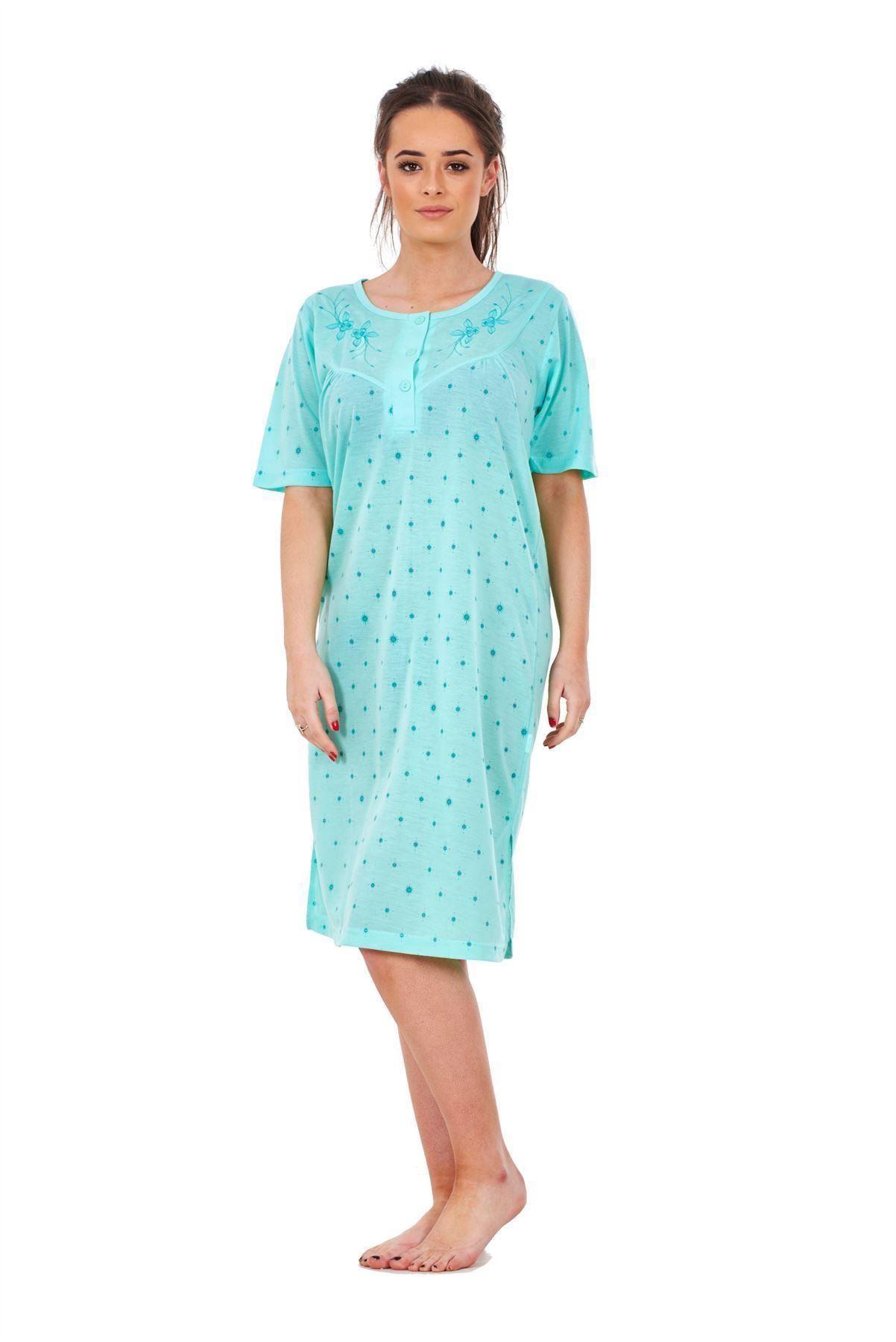 Ladies-Women-Nightwear-Crew-Neck-Button-SUN-Printed-Short-Sleeve-Long-Nightie