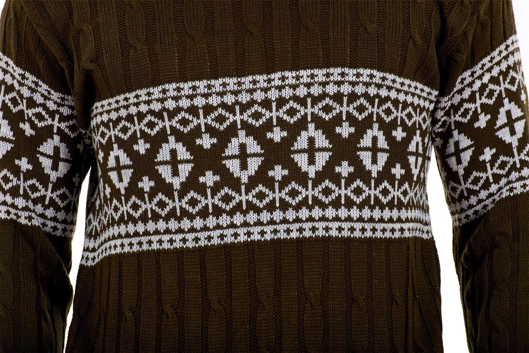 Mens-New-Cable-Knit-Jacquard-Long-Sleeve-Pullover-Jumper-Sweater-S-to-XL thumbnail 16