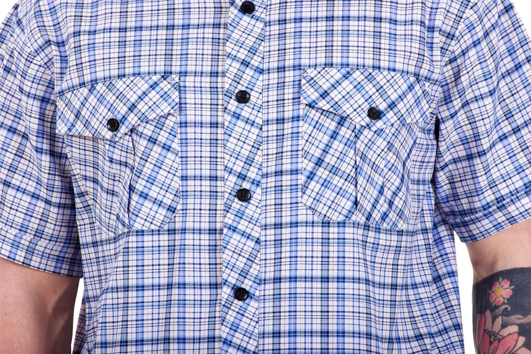 Mens-Regular-Big-Size-Shirts-Checked-Cotton-Blend-Casual-Short-Sleeve-M-to-5XL thumbnail 4