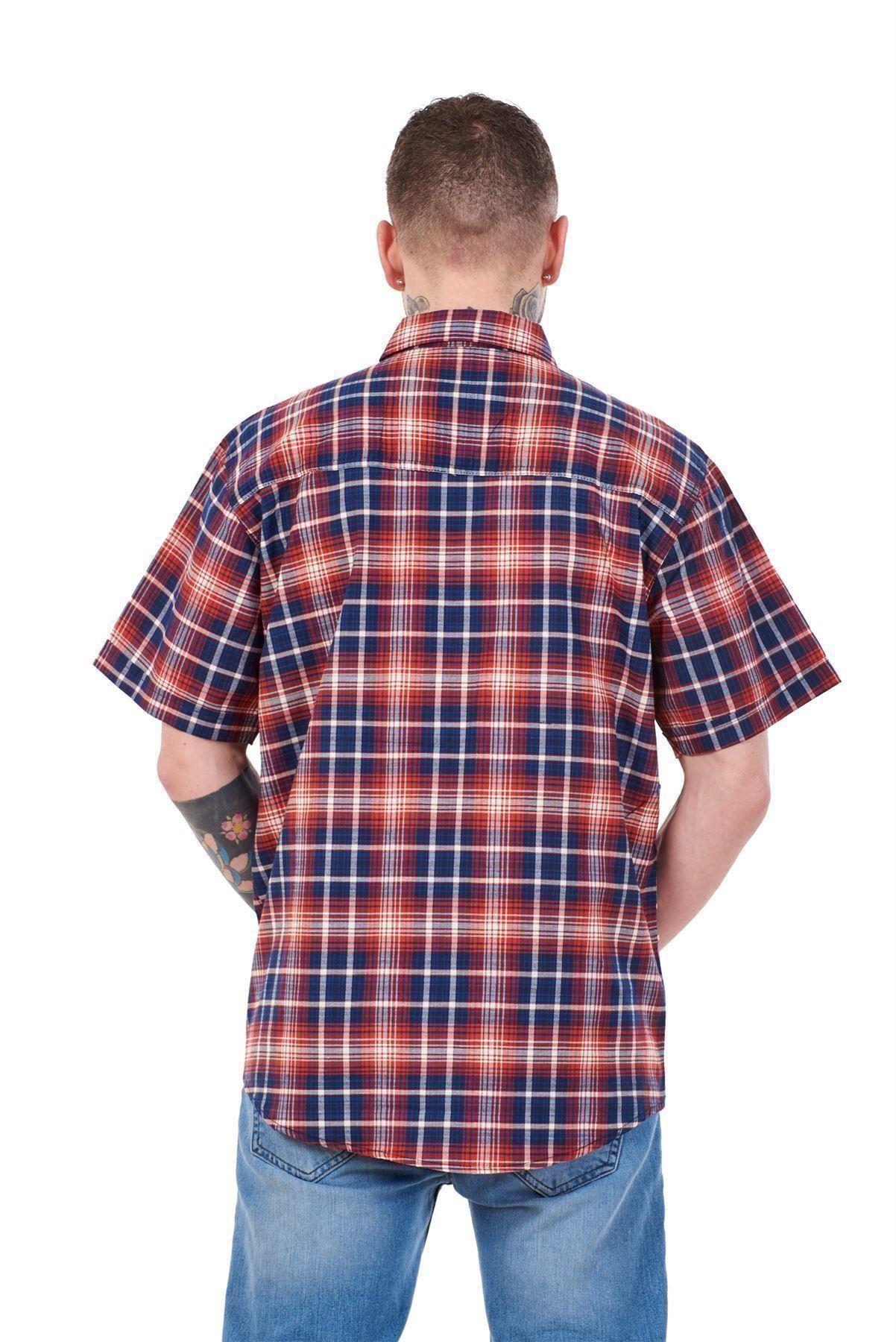 Mens-Regular-Big-Size-Shirts-Checked-Cotton-Blend-Casual-Short-Sleeve-Blue-M-5XL thumbnail 29