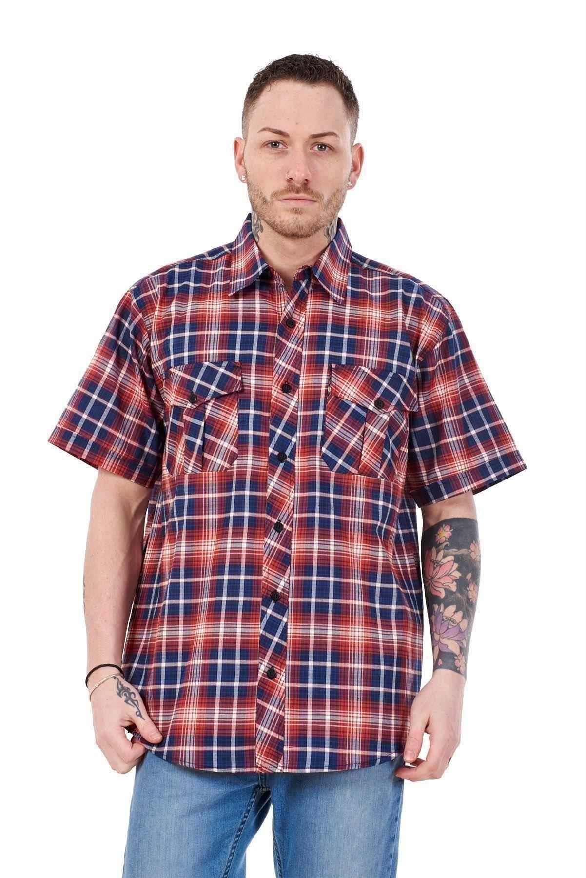 Mens-Regular-Big-Size-Shirts-Checked-Cotton-Blend-Casual-Short-Sleeve-Blue-M-5XL thumbnail 28