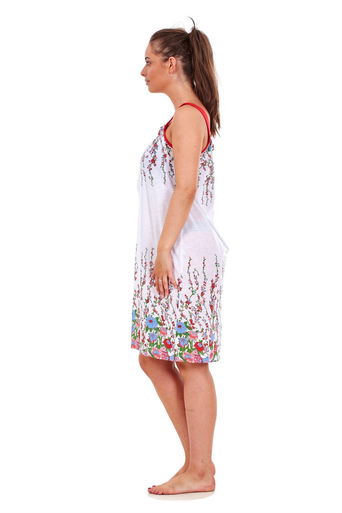 7771f6765a Ladies Sleeveless Nightwear Floral 100% Cotton Summer Short ...