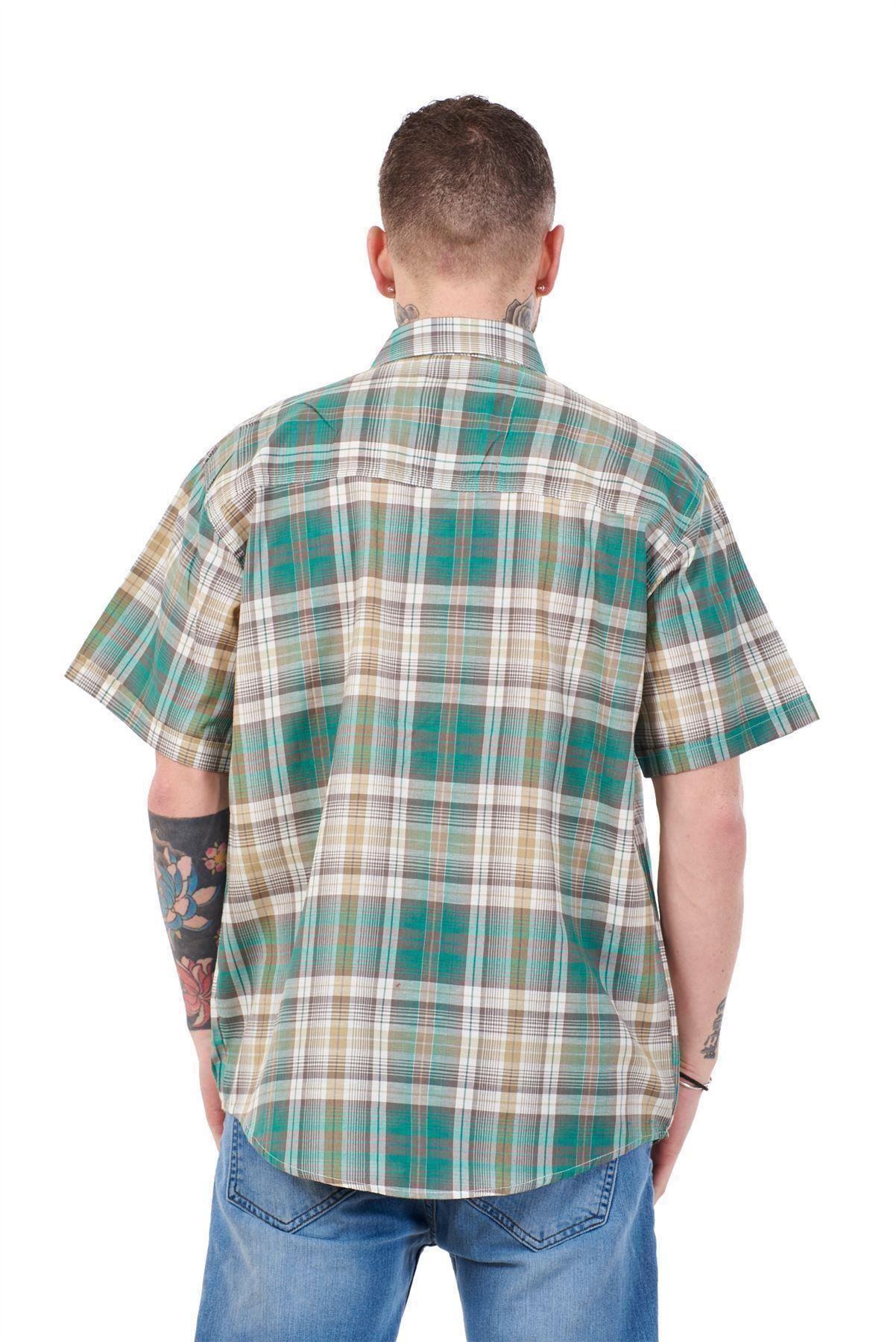 Mens-Regular-Big-Size-Shirts-Checked-Cotton-Blend-Casual-Short-Sleeve-Blue-M-5XL thumbnail 15
